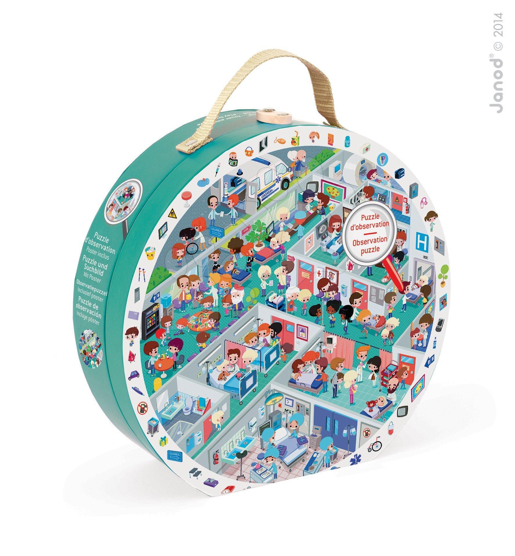 Kulaté puzzle Pohotovost Janod v kulatém kufříku 208 dílů od 6 - 9 let