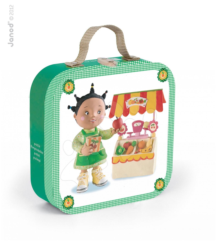 Detské puzzle do 100 dielov - Puzzle Zoein obchod Janod v kufríku 6-9-12-16 dielov od 3 - 6 rokov