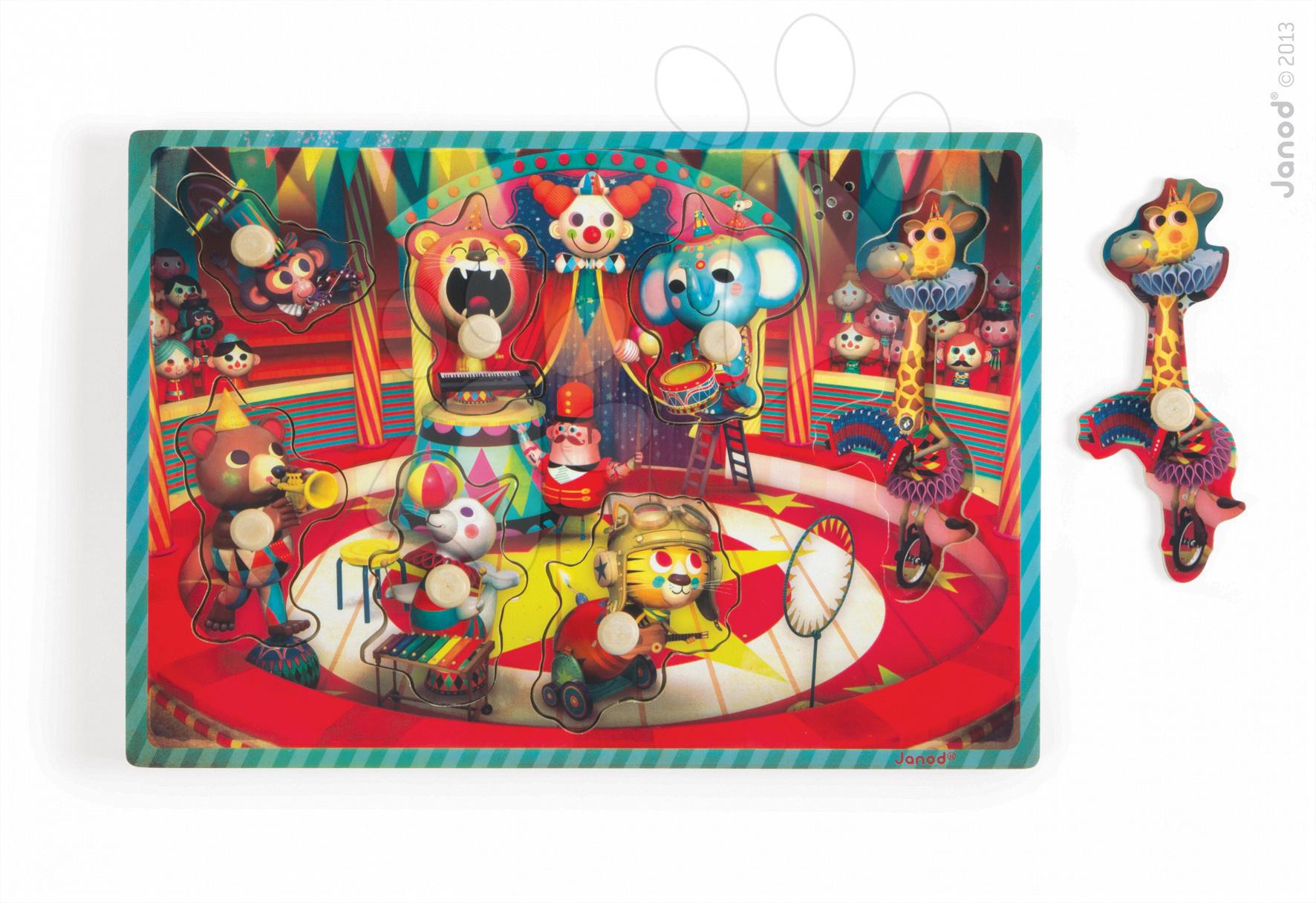 Puzzle pre najmenších - Drevené puzzle pre najmenších Zapatta Circus Janod hudobné 7 dielov od 18 mes