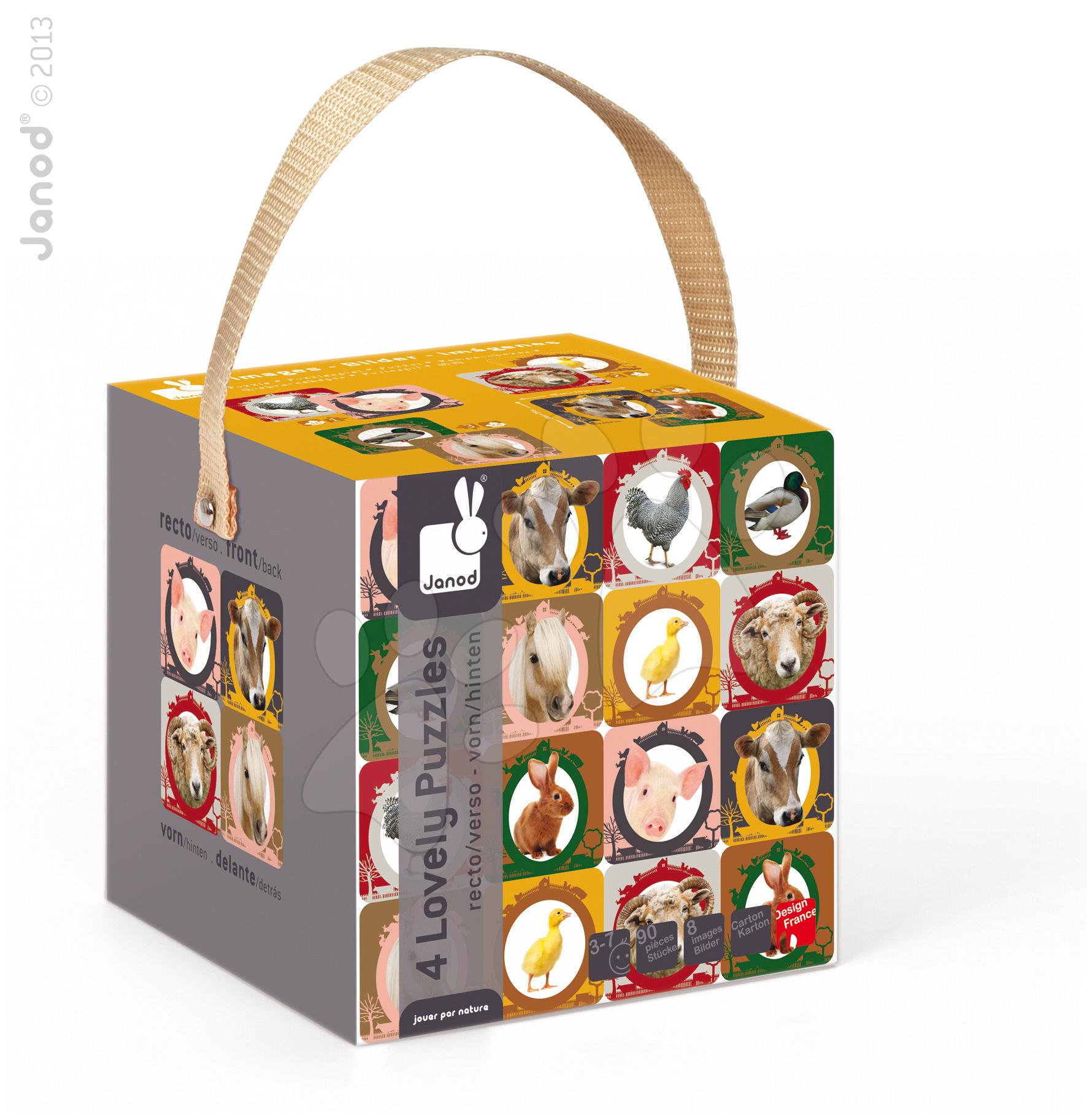 Detské puzzle do 100 dielov - Obojstranné puzzle Farma Janod v kufríku 16-20-24-30 dielov od 3 - 7 rokov