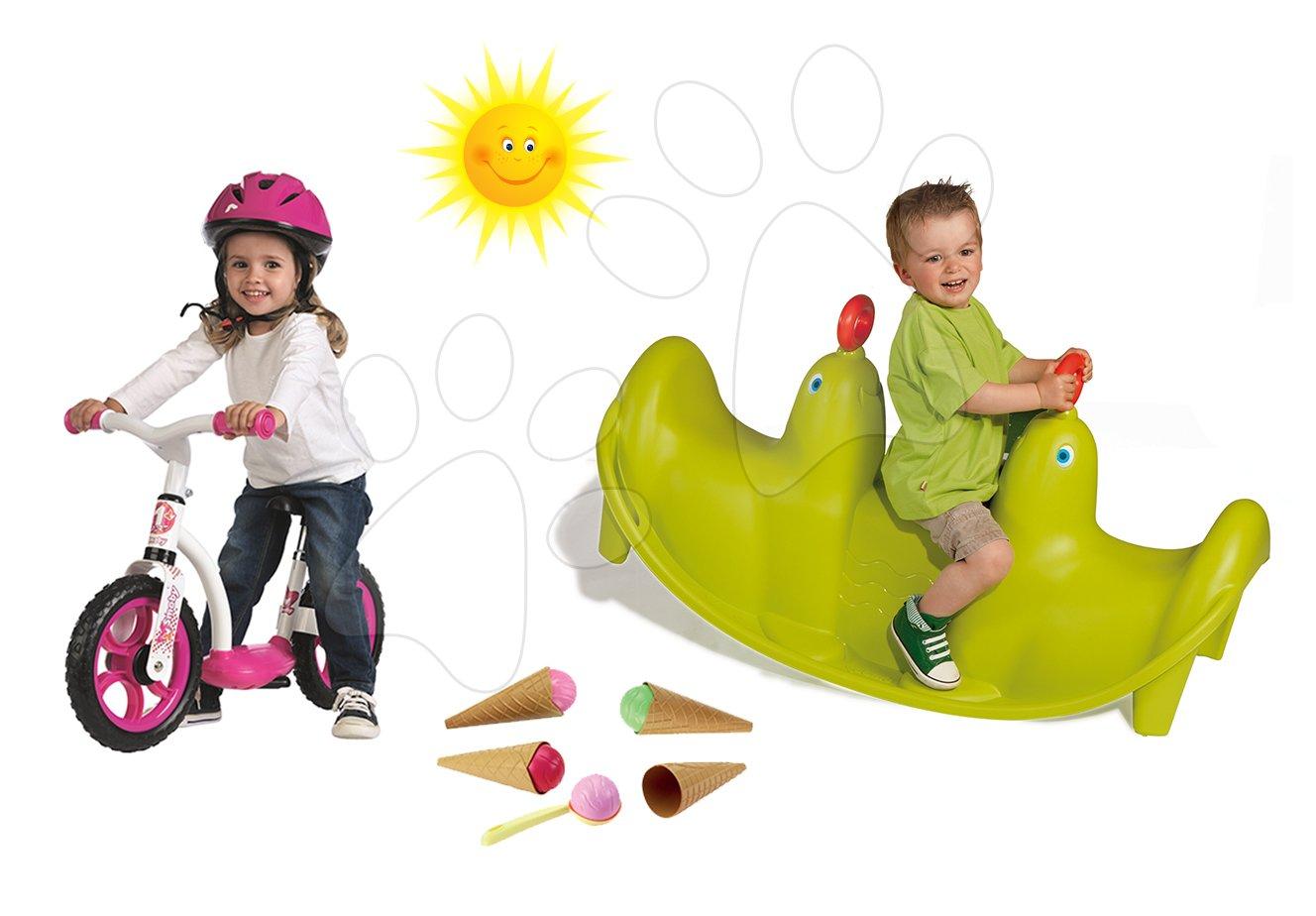 Set houpačka Tuleň Smoby oboustranná s vodotryskem a balanční odrážedlo Learning Bike a zmrzlina s kornoutem