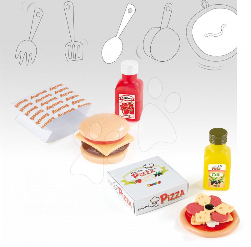 Riadíky a doplnky kuchynky - Mini pizza/mini hamburger Smoby so 7 doplnkami