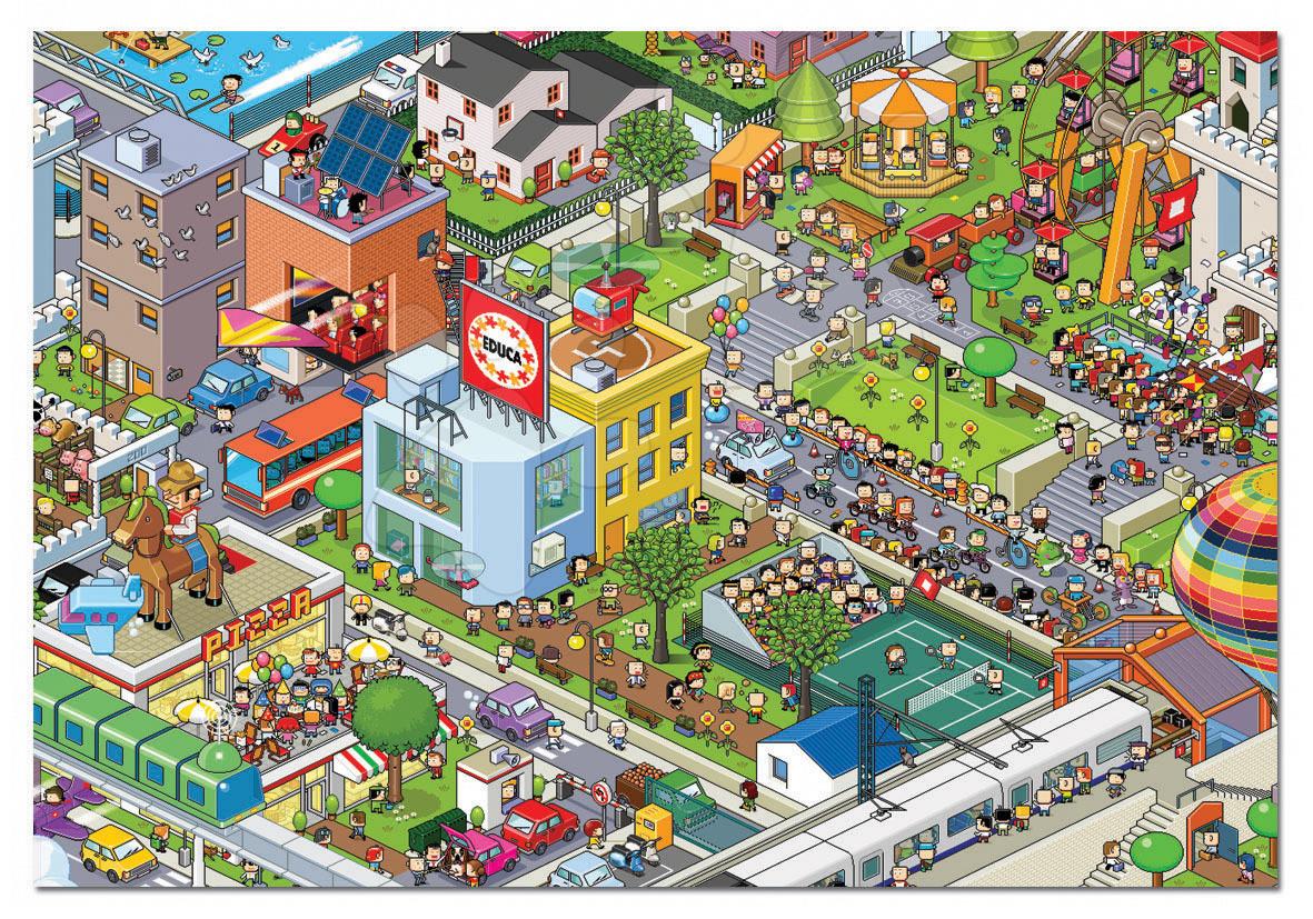 Puzzle Pixel Centrum mesta Educa 500 dielov od 11 rokov