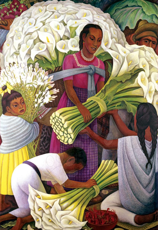 Puzzle 500 dielne - Puzzle Predavačka kvetín, Paul Gauguin Educa 500 dielov od 11 rokov