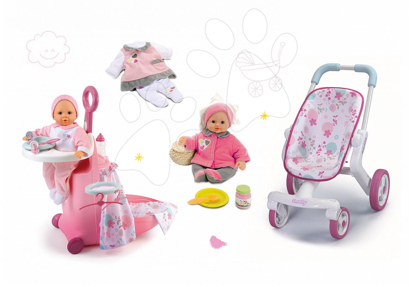 Set pečovatelský kufřík pro panenku Baby Nurse Smoby, panenka se šatičkami 32 cm a sportovní kočárek pro panenku (53,5 cm ručka)