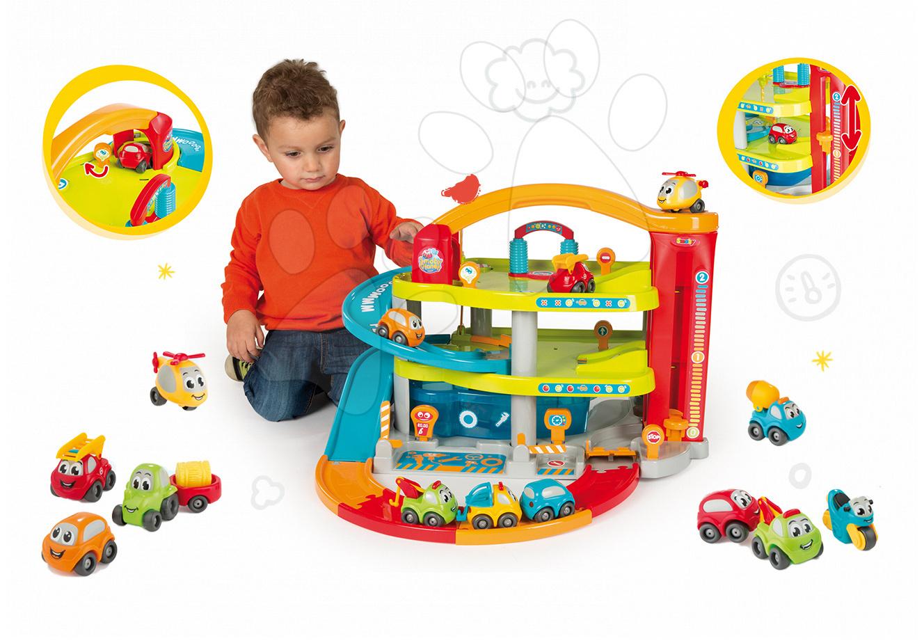 Set dětská dvoupatrová garáž Vroom Planet Grand Smoby s 2 autíčky a souprava 8 autíček