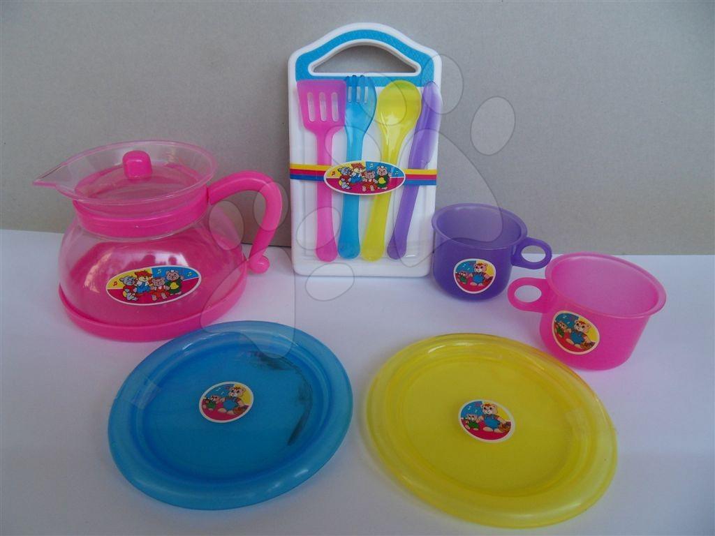 Čajový set se šálky a talířky plastový