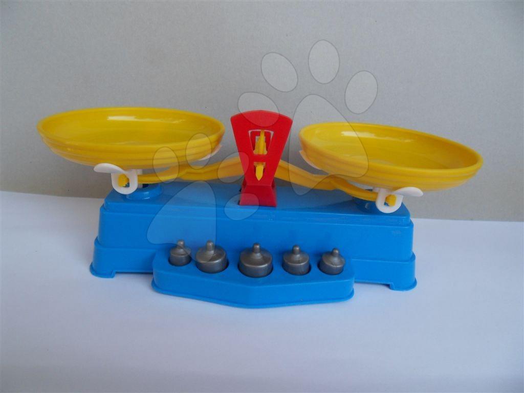 Riadíky a doplnky kuchynky - Kuchynská váha so závažím dvojitá modrá