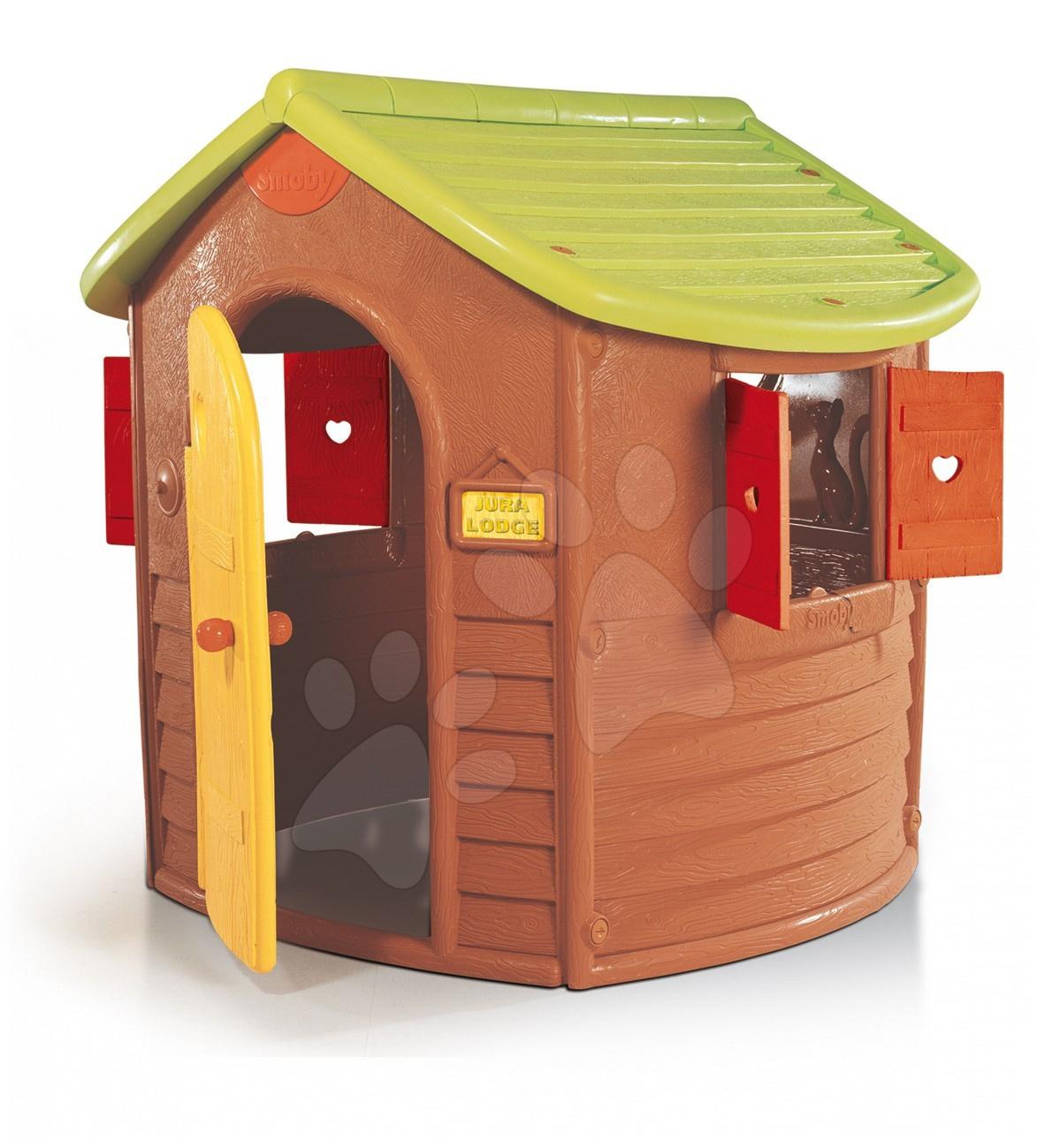 Domček Jura Lodge s okenicami Smoby hnedý s UV filtrom 132 cm vysoký od 24 mes