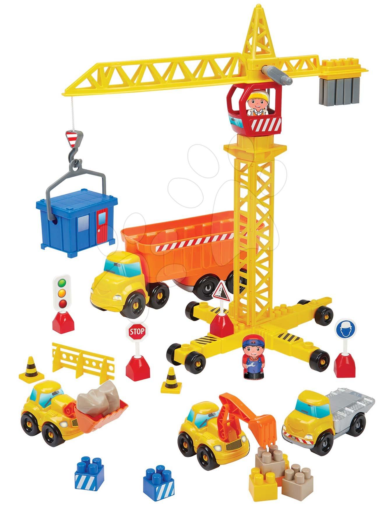 Abrick építőkockák - Építőjáték Épitőmunkások a darun Publics Works Crane Abrick Écoiffier 5 járművel és 2 figurával