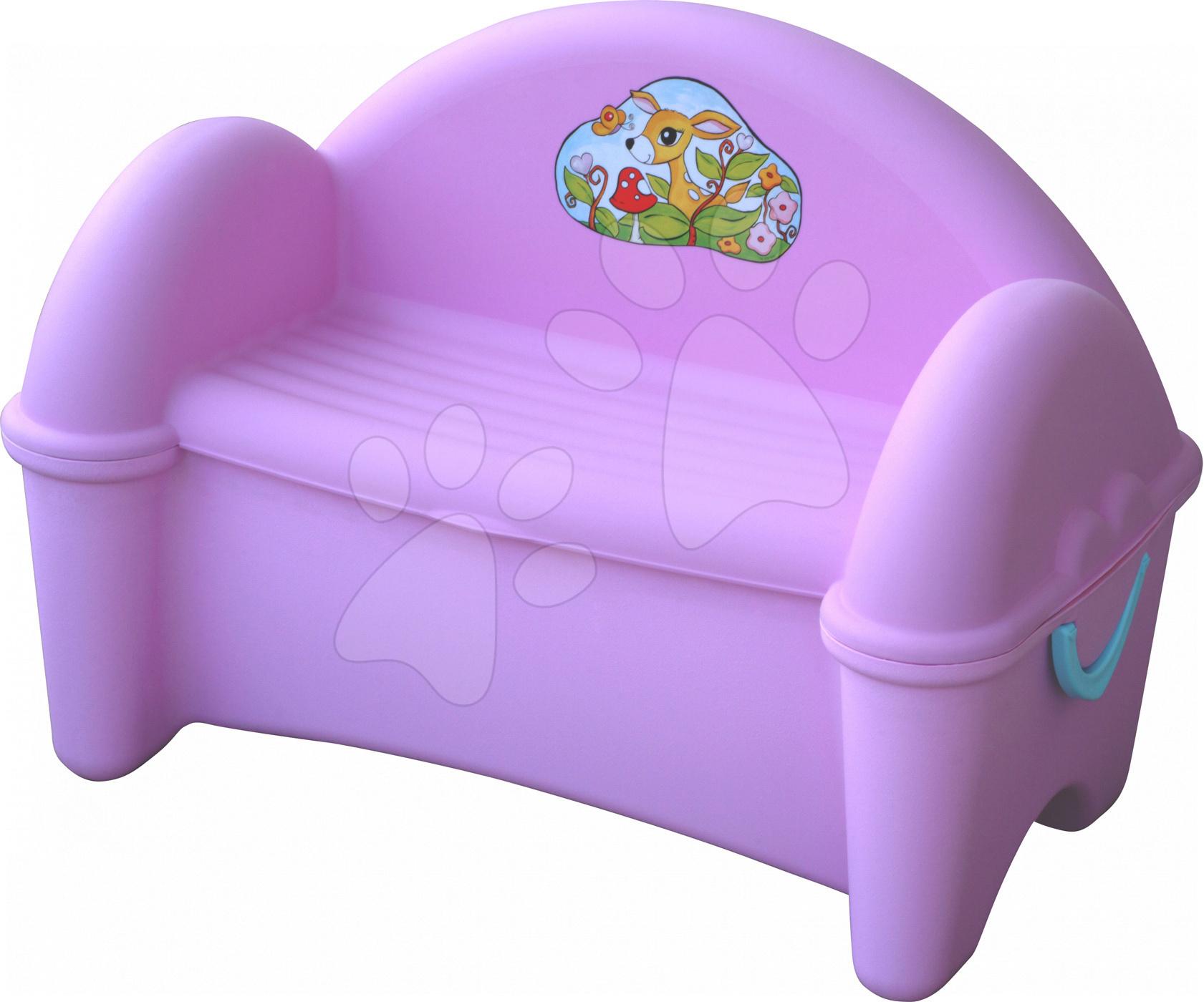 Pohovka PalPlay s úložným prostorem pro hračky růžová