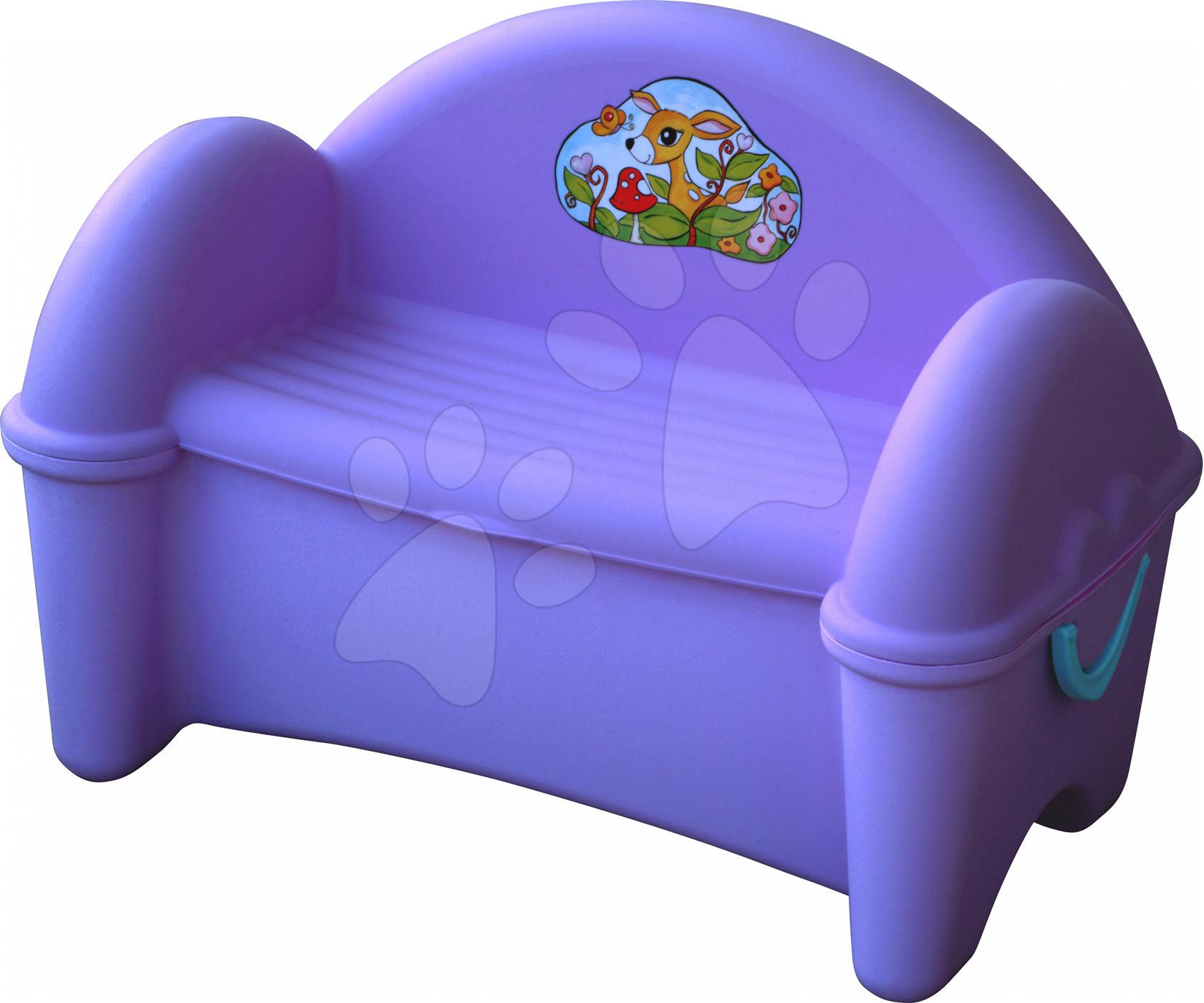 Detský záhradný nábytok - Pohovka PalPlay s úložným priestorom pre hračky fialová