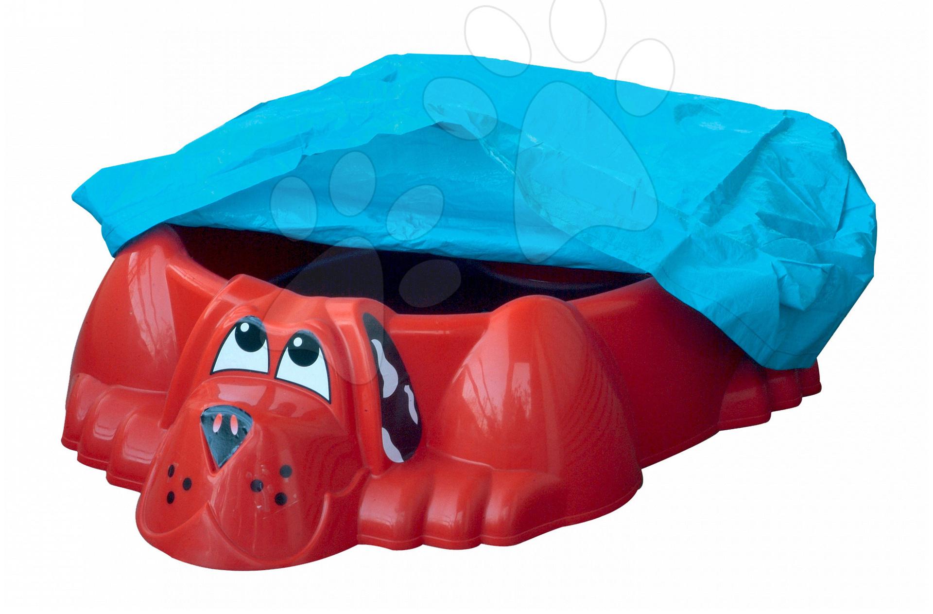 Pieskoviská pre deti - Pieskovisko Pes PalPlay s plachtou červené od 24 mes