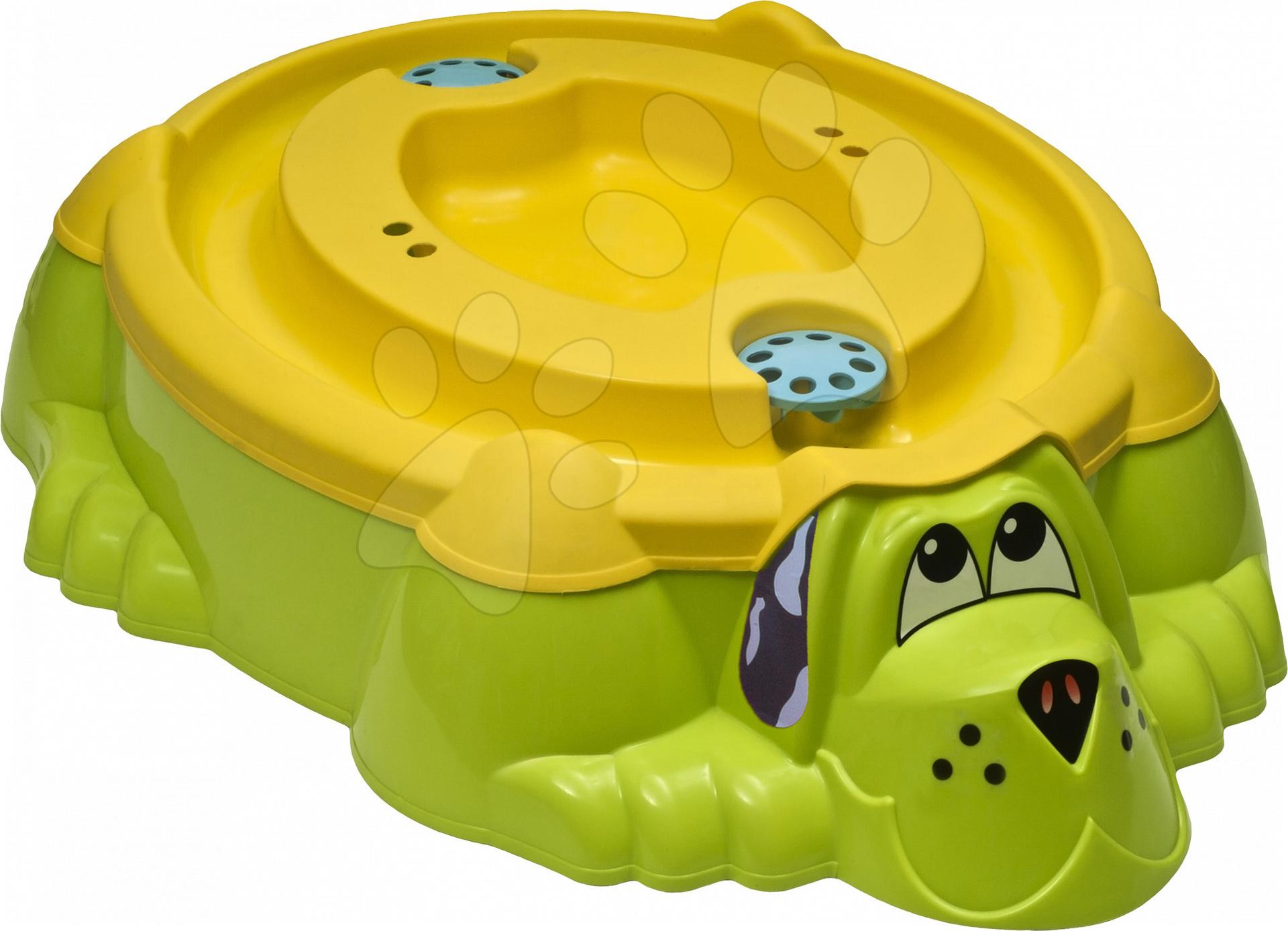 Pieskoviská pre deti - Pieskovisko Pes PalPlay s pevným krytom žlto-zelené od 24 mes