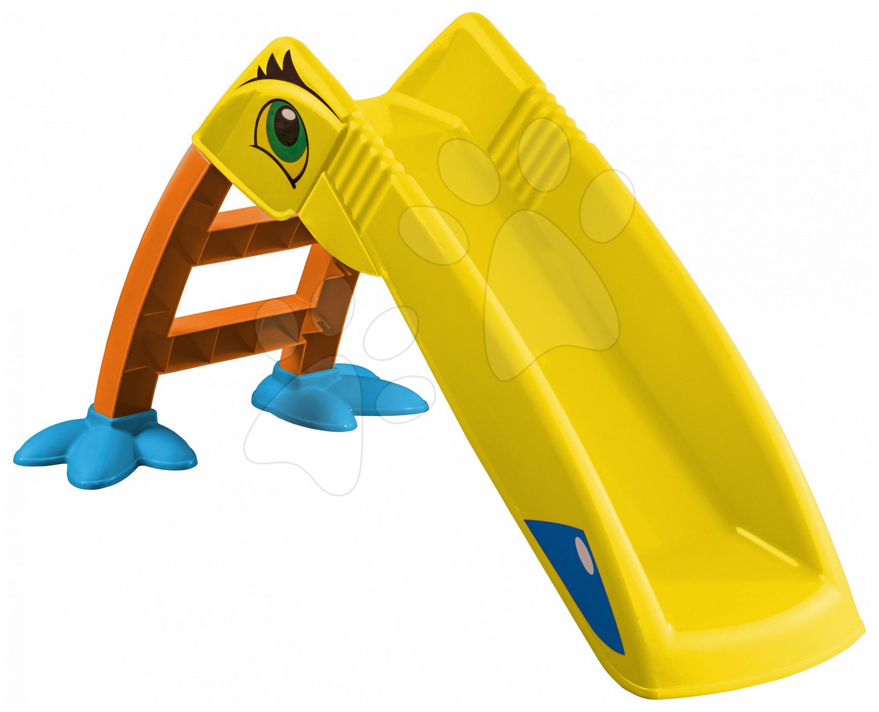 Skluzavky pro děti - Skluzavka Papoušek PalPlay délka70 cm žluto-zelená od 24 měsíců