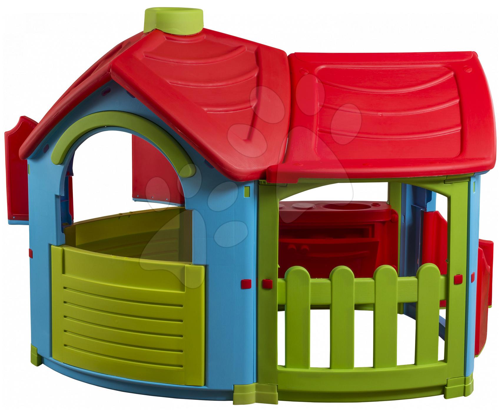 Domčeky pre deti - Domček Triangle Villa PalPlay s kuchynkou a prístavbou