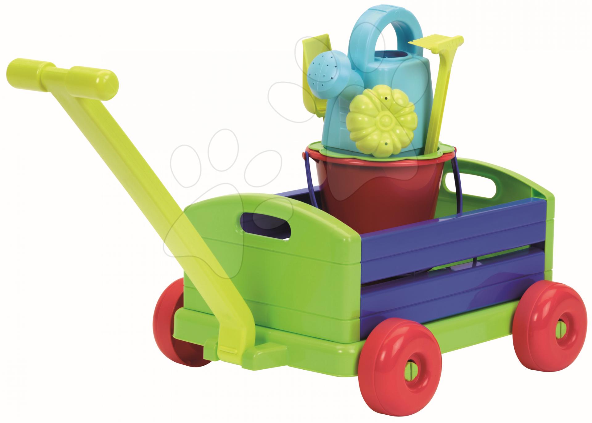Vozík s kbelík setem Écoiffier modro-zelený 6 dílů od 18 měsíců