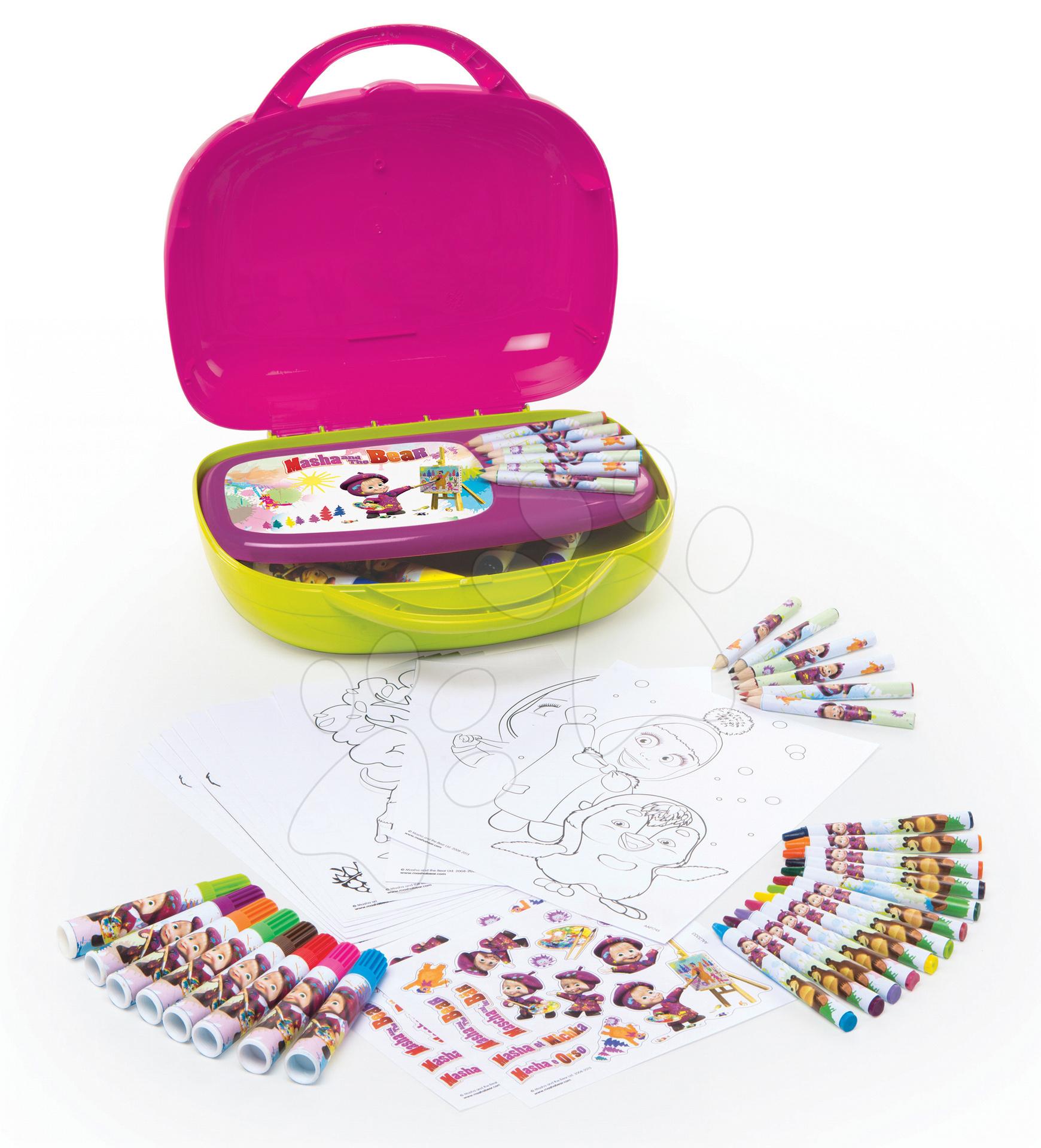 Staré položky - Výtvarný set Máša a medveď Smoby v kufríku so 60 doplnkami