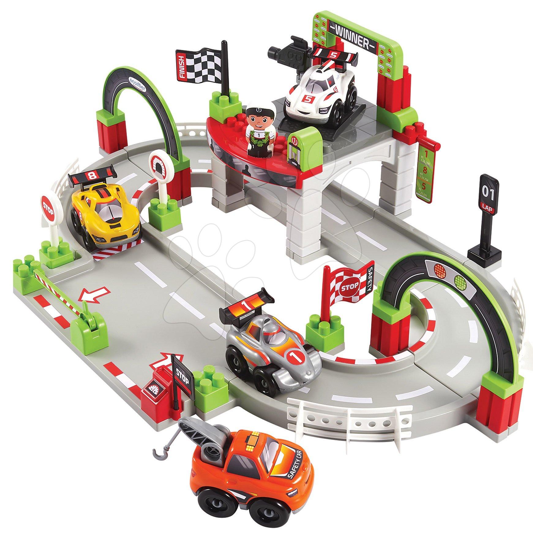 Stavebnice závodní dráha s vítězem Abrick Écoiffier se 4 autíčky a postavičkou od 18 měsíců