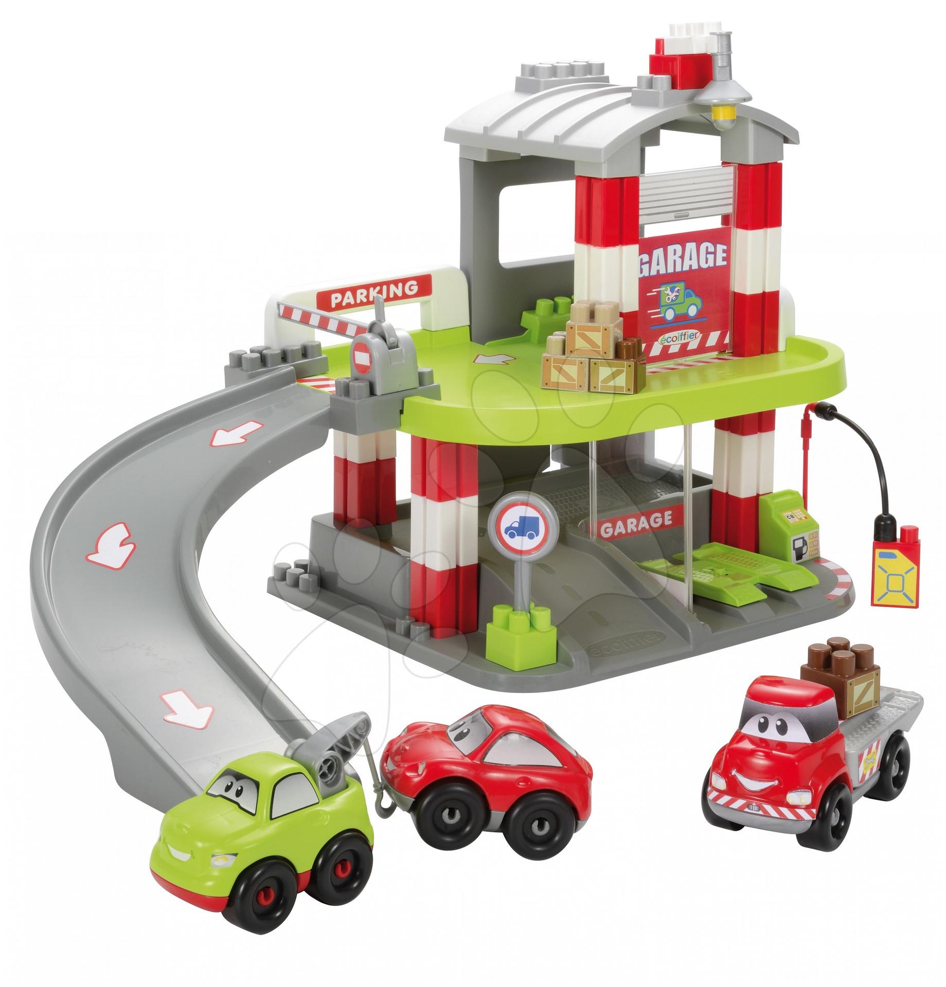 Stavebnice Abrick - Stavebnica rýchle autá - poschodová garáž Abrick Écoiffier s 3 autíčkami od 18 mes