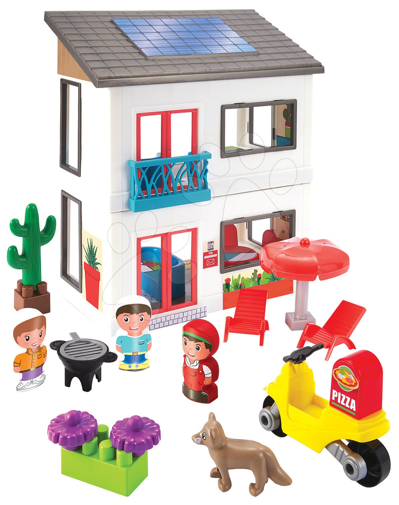 Építőjáték családi ház Abrick Écoiffier emeletes kismotorral és 3 figurával 56 darabos 18 hó-tól