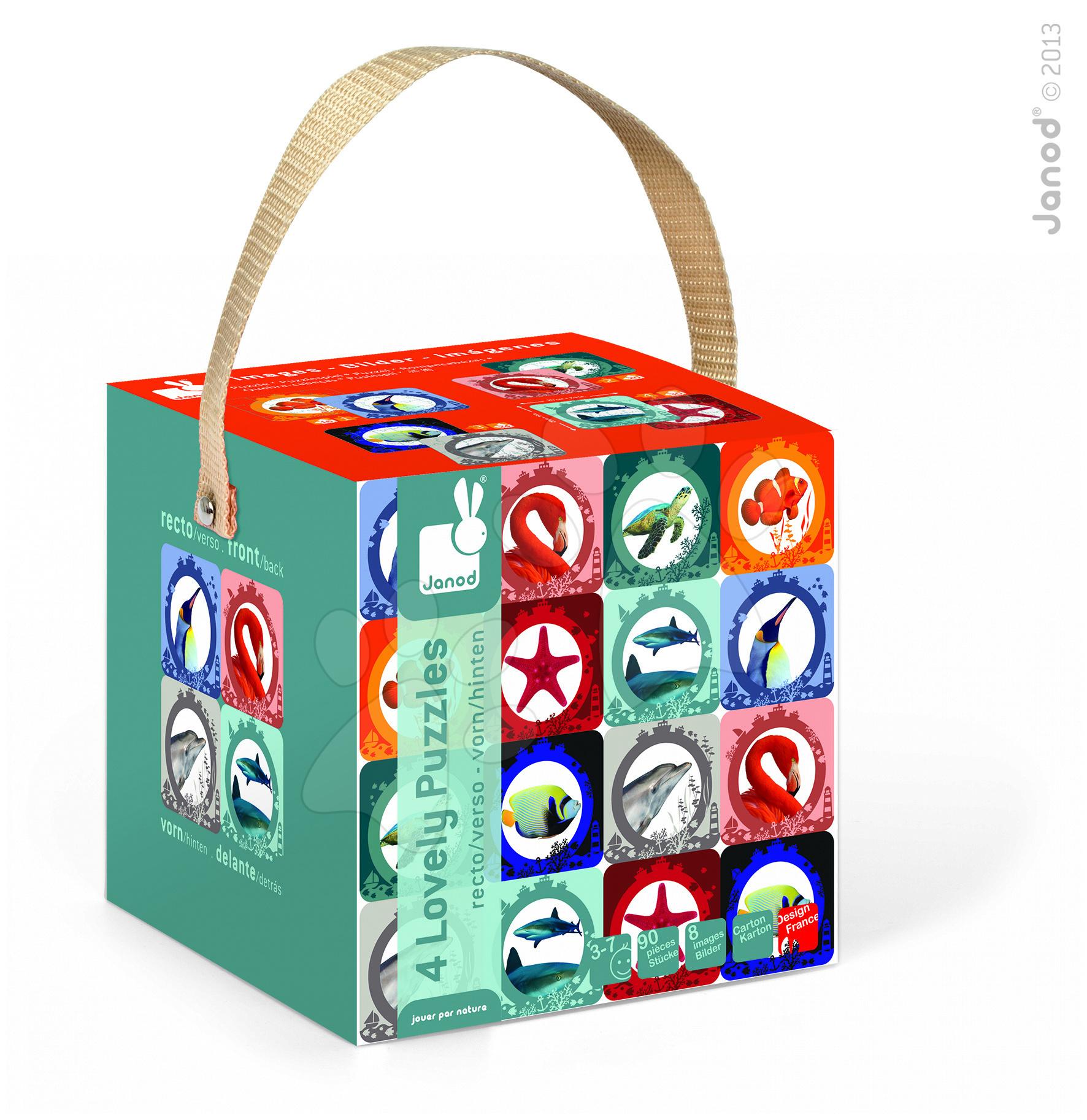 Detské puzzle do 100 dielov - Obojstranné puzzle More a oceán Janod v kufríku 16-20-24-30 dielov od 3 - 7 rokov