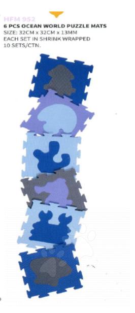 Staré položky - Penové puzzle oceán Lee podložka pre najmenších 6 dielov