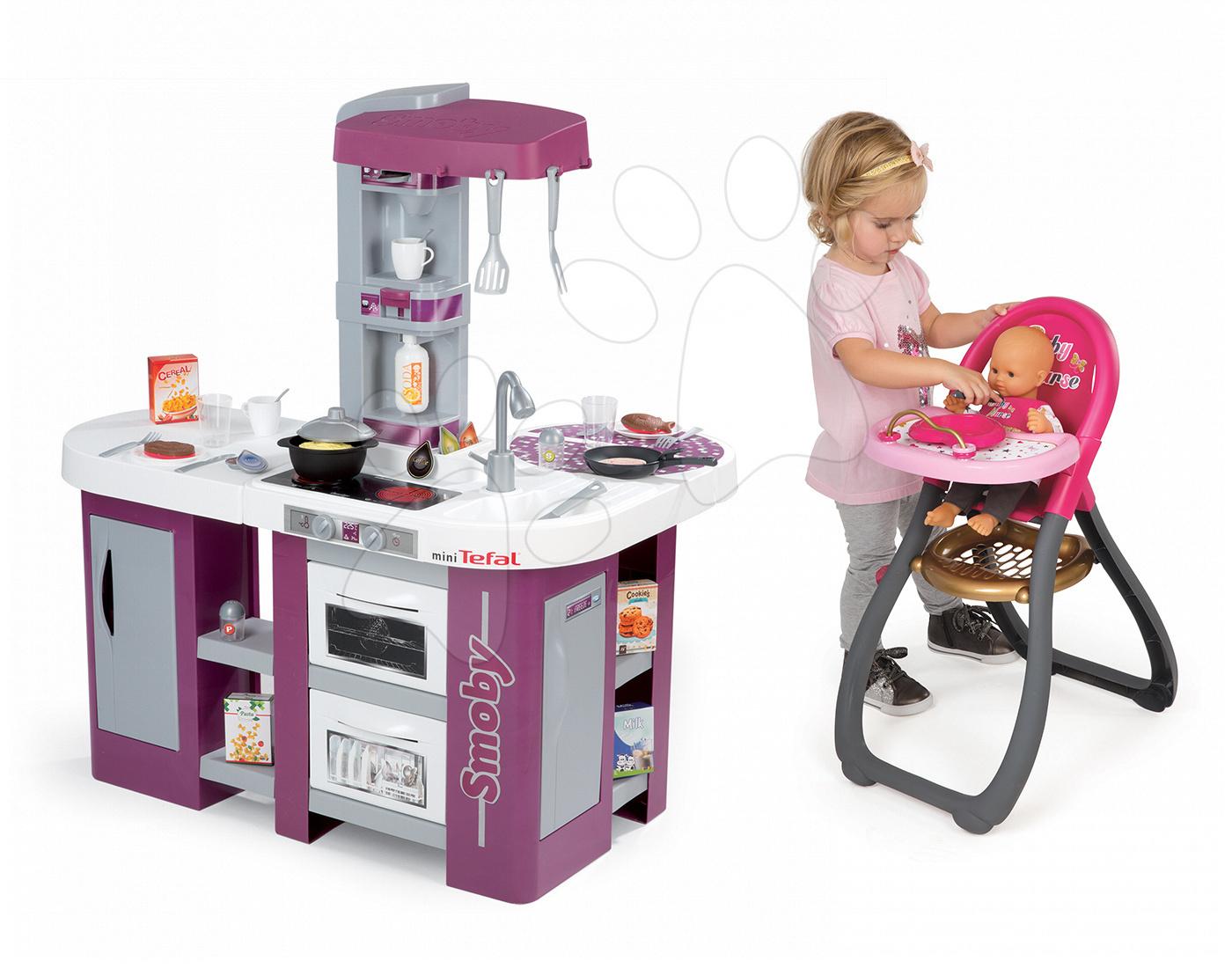 Set dětská kuchyňka Tefal Studio XL Smoby s myčkou nádobí a lednicí a jídelní židle pro panenku Baby Nurse