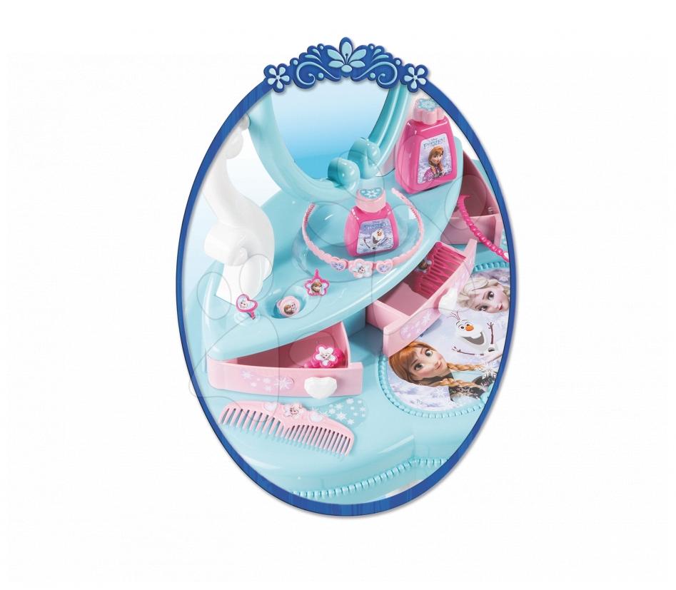Set dětský kosmetický stolek Frozen Smoby se židlí a skládací kočárek pro panenku Frozen (58 cm ručka)