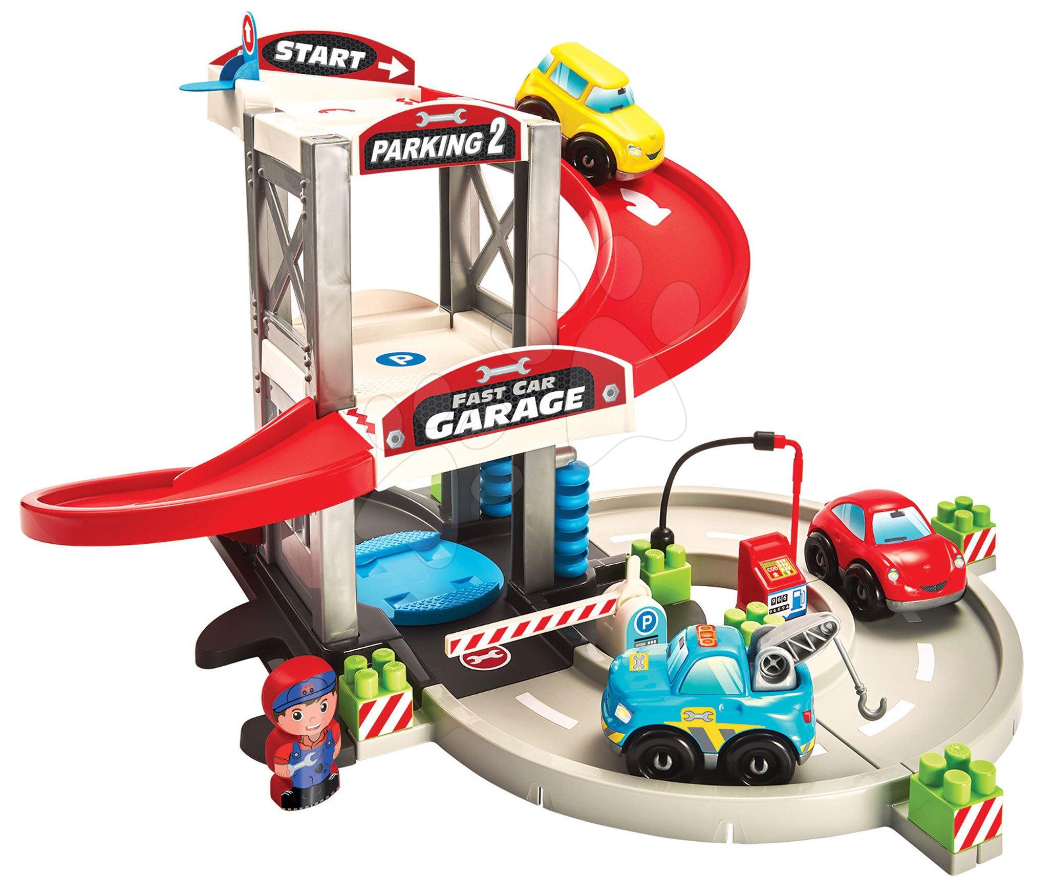Abrick építőkockák - Építőjáték emeletes garázs szerviz 3 kisautóval Abrick Écoiffier töltőállomással és figurával 18 hó-tól