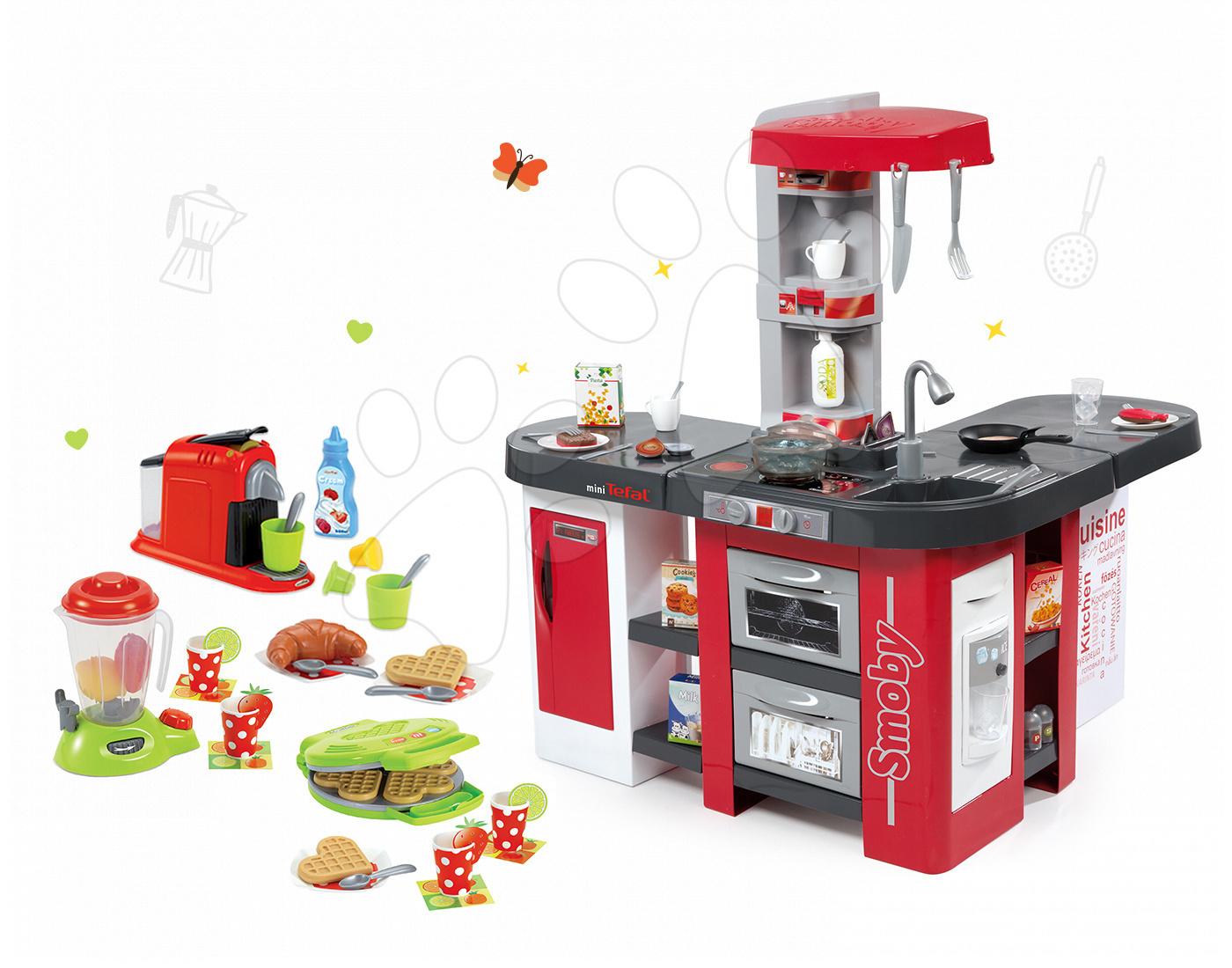 Set kuchyňka Tefal Studio XXL Smoby s magickým bubláním, vaflovač s mixérem a kávovarem