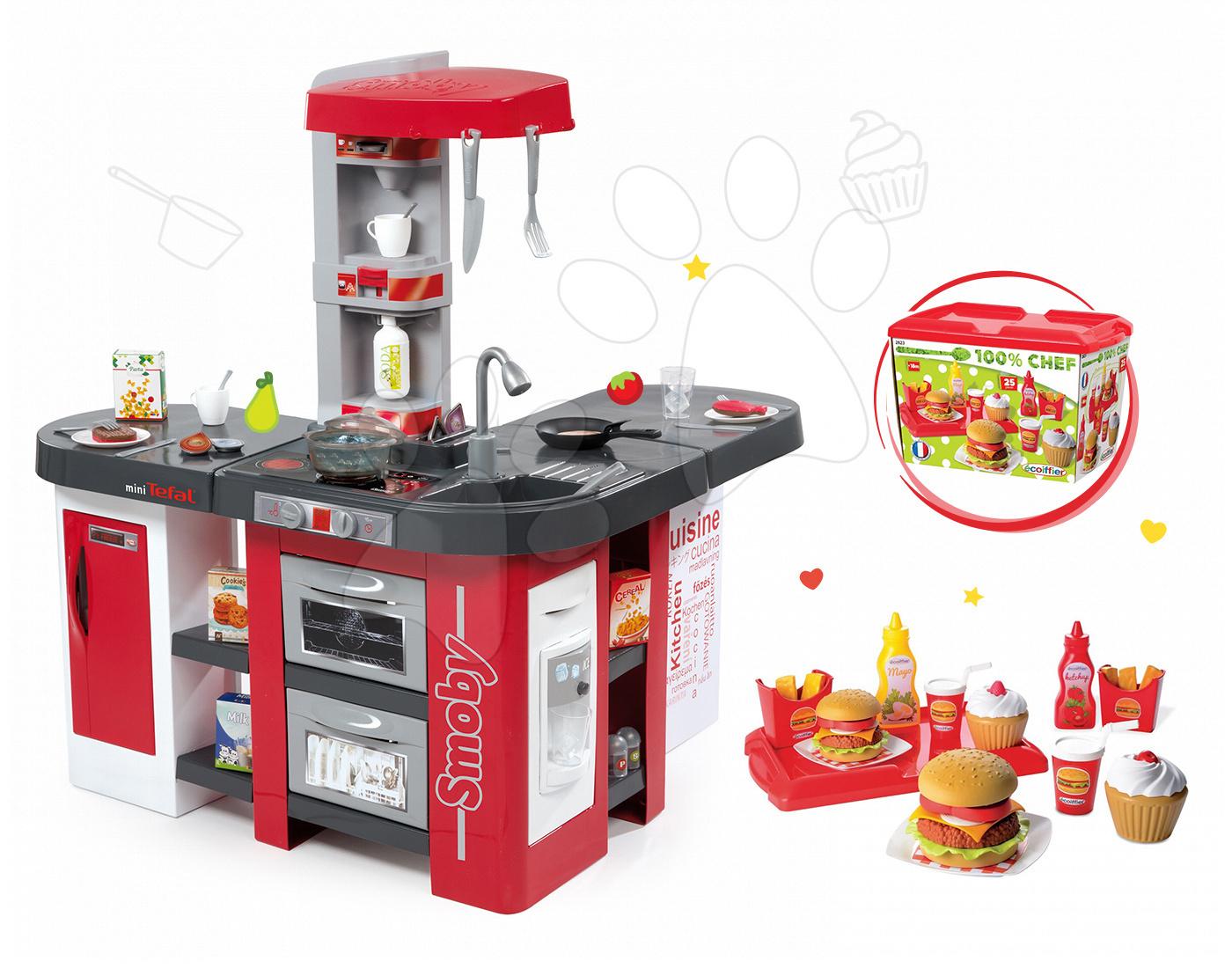 Set kuchyňka Tefal Studio XXL Smoby s magickým bubláním a sada hamburgerů 100% Chef