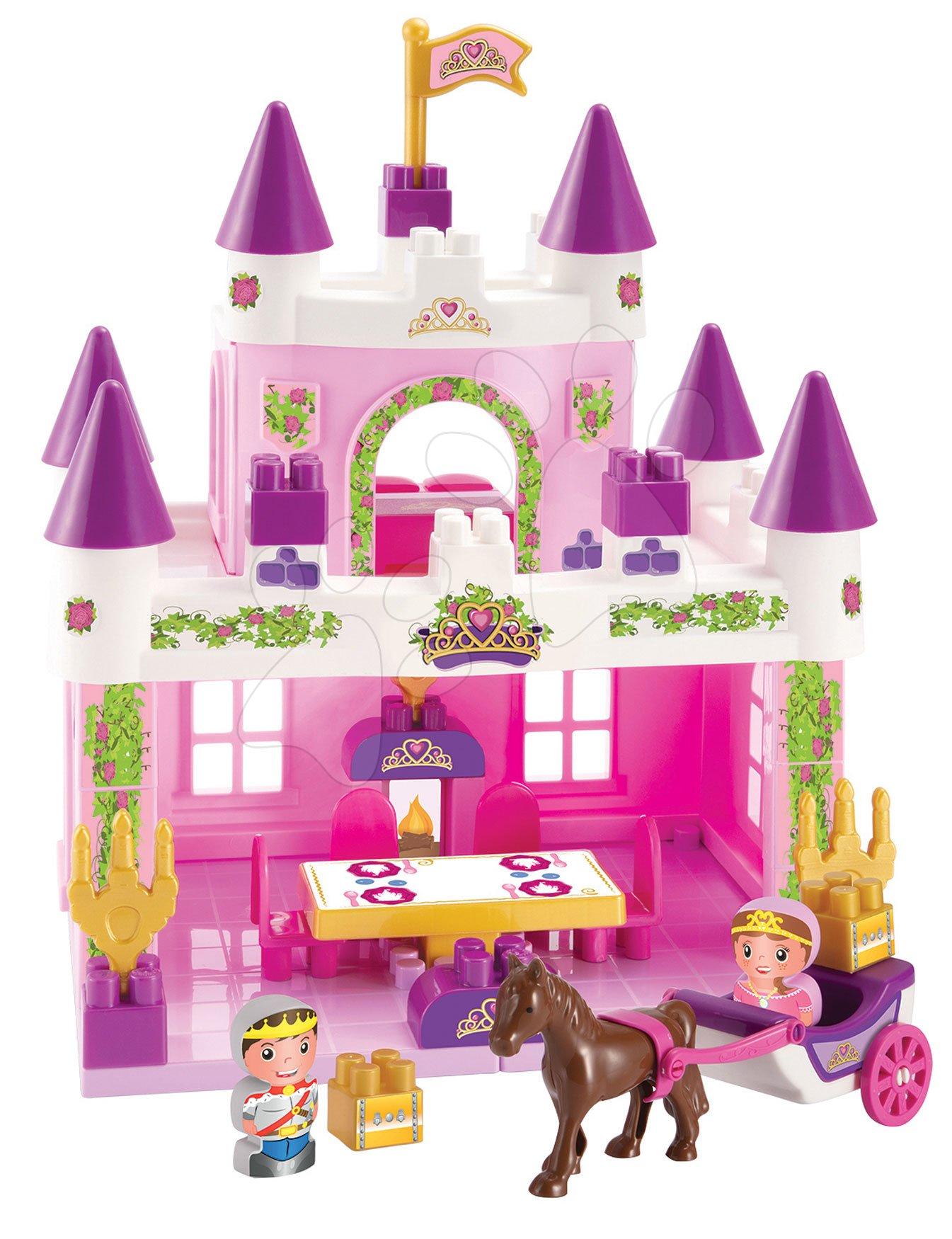 Stavebnice zámek s princeznou Abrick Écoiffier a princ s kočárem a nábytkem od 18 měsíců