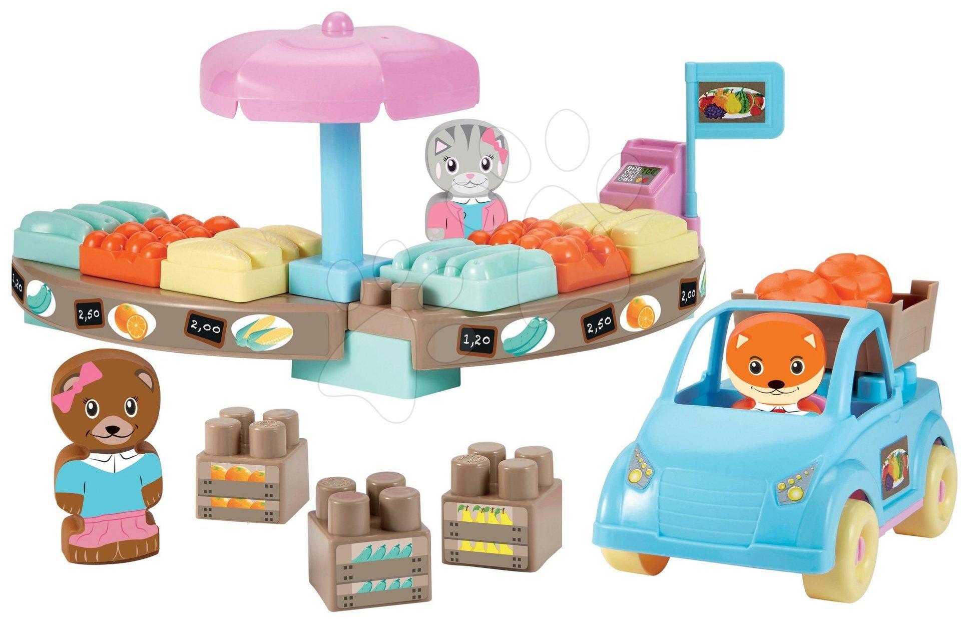 Stavebnica obchod Twee Pop Abrick Écoiffier s autom a 3 postavičkami zvieratkami od 18 mes