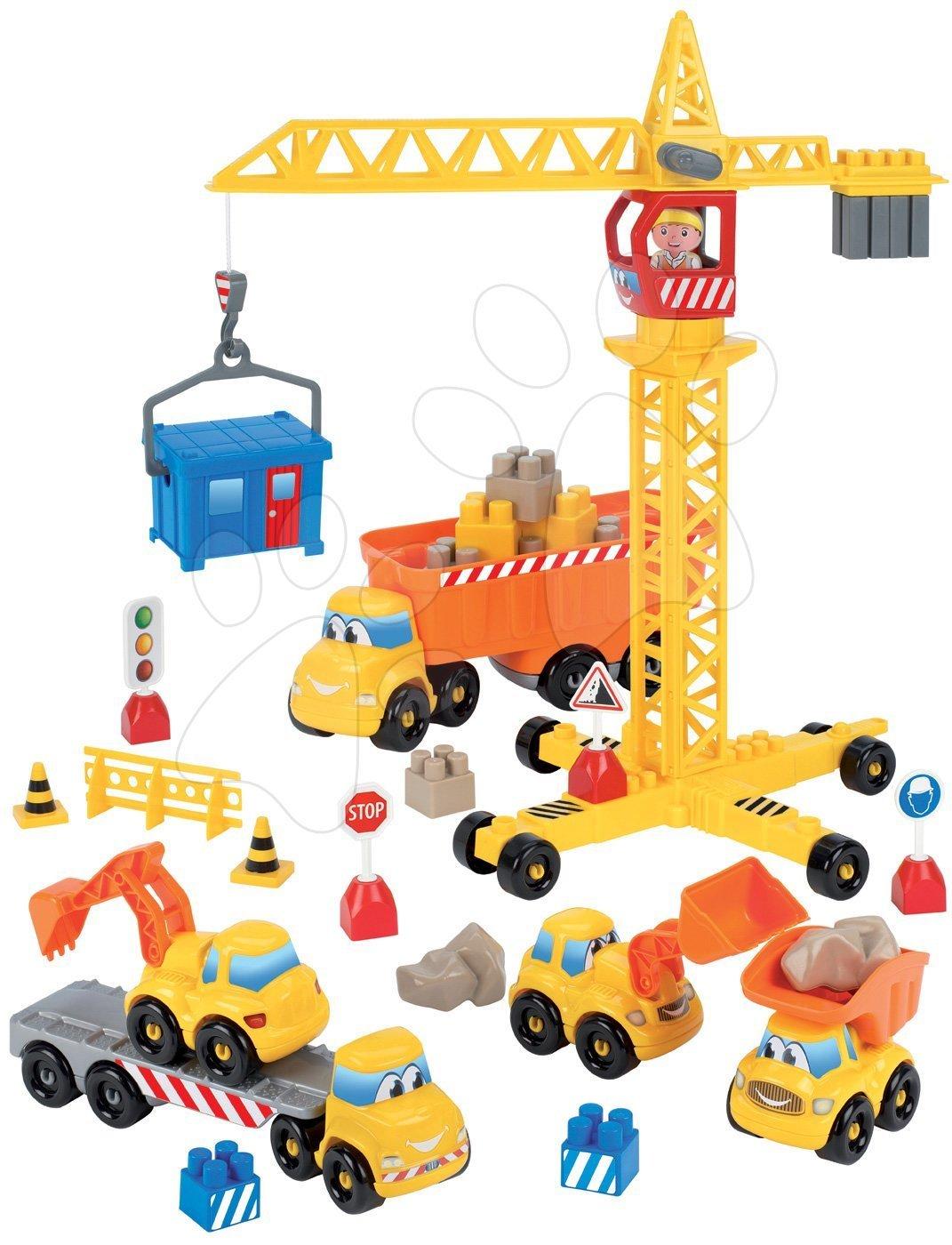 Abrick építőkockák - Építőjáték építőmunkás daruval Abrick Écoiffier 5 autóval és daruval 18 hó-tól