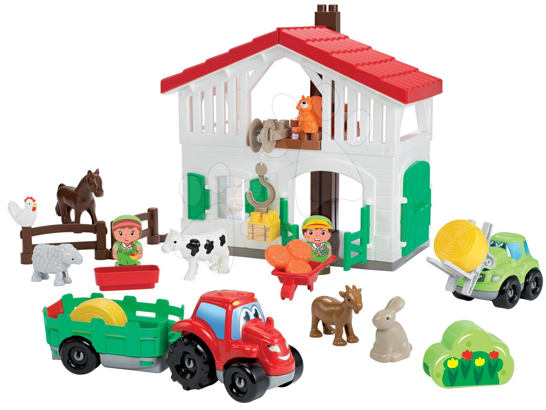 Stavebnica farma s traktorom Abrick Écoiffier so 7 zvieratkami a 2 farmármi od 18 mes