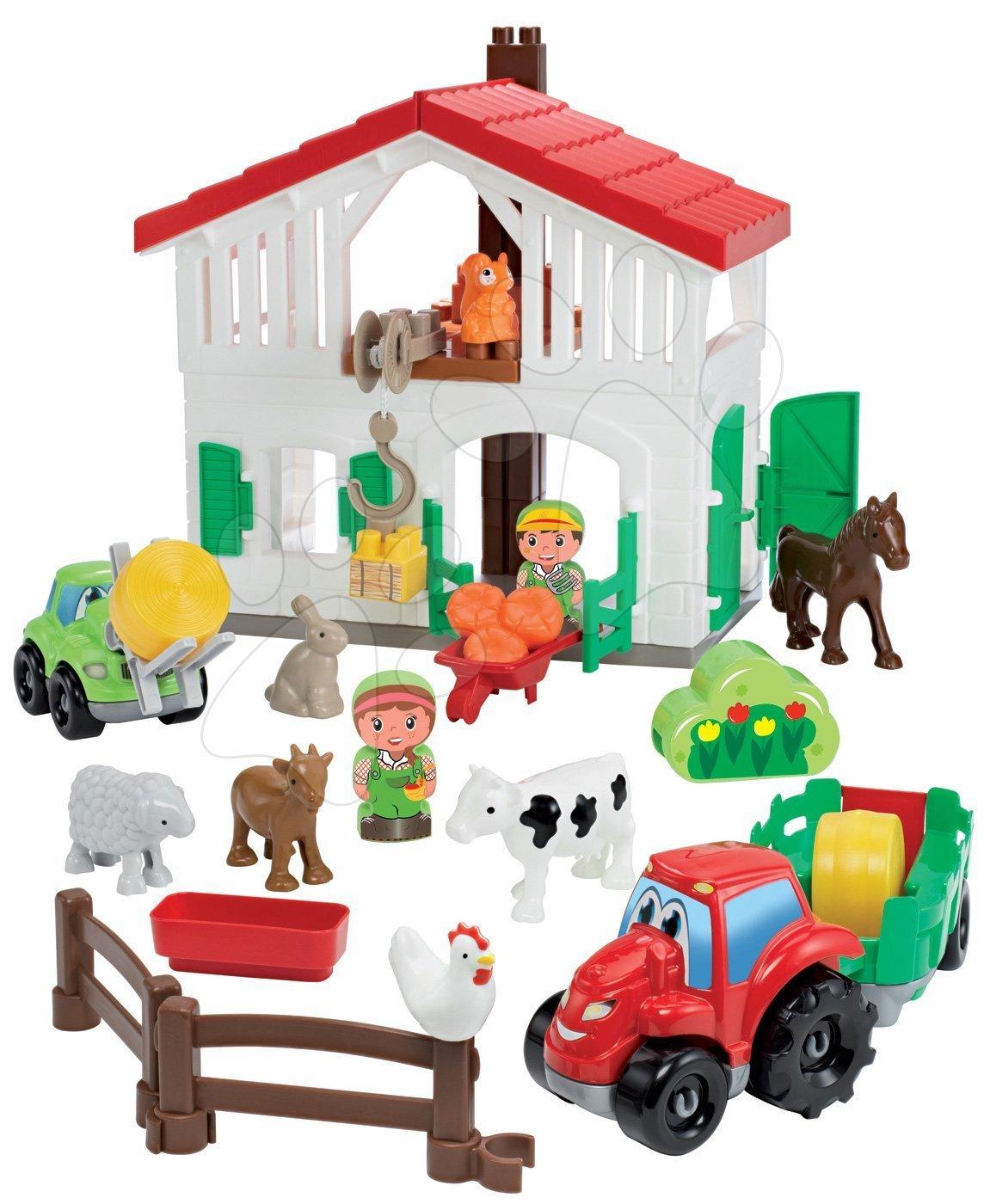 Abrick építőkockák - Építőjáték farm traktorral Abrick Écoiffier 7 állatkával és 2 gazdával 18 hó-tól