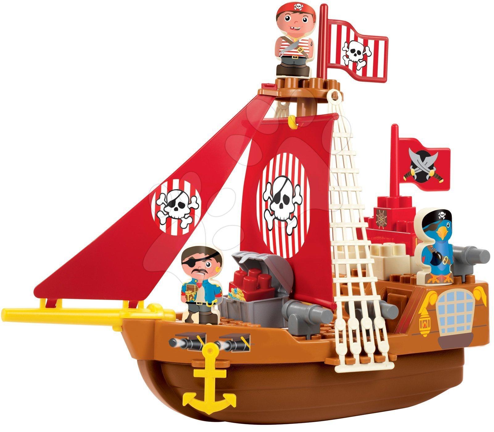 Joc de construit Barca piraţilor Abrick Écoiffier cu 3 figurine de la 18 luni
