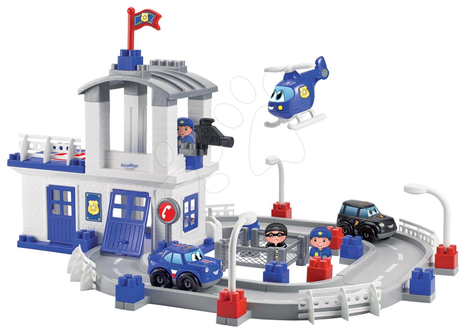 Joc de construit staţia de poliţie cu drum auto Abrick Écoiffier cu 2 maşini şi 3 figurine de la 18 luni