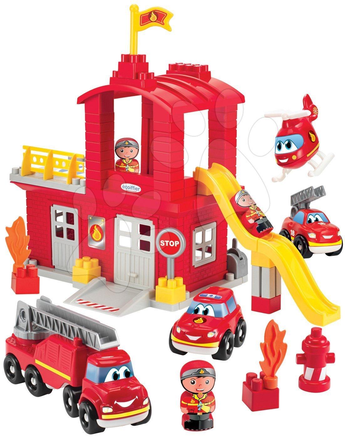 Abrick építőkockák - Építőjáték tűzoltók csúszdával Abrick Écoiffier és emeletes garázzsal, 3 autóval és 3 tűzoltóval 18 hó-tól