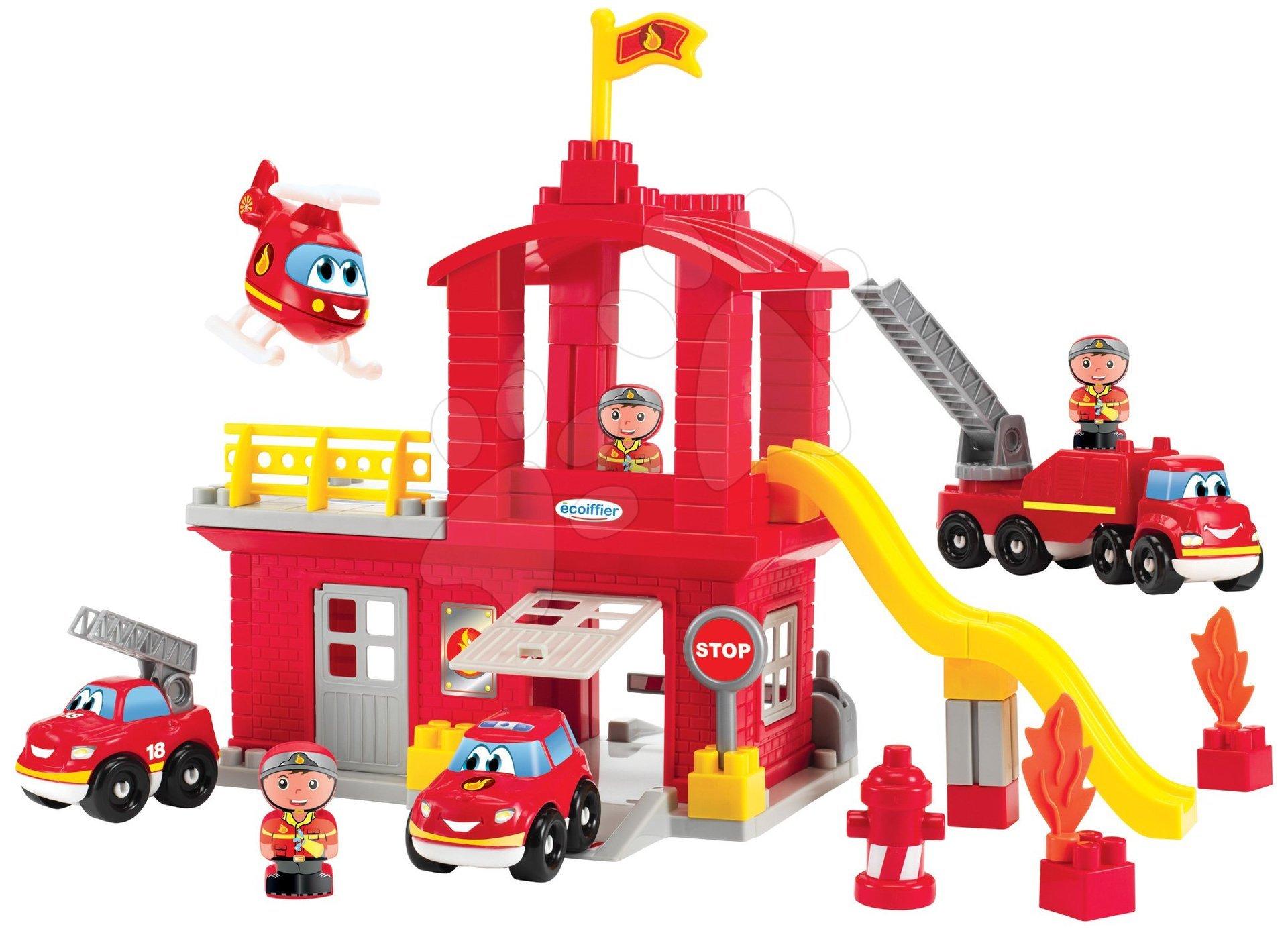 Építőjáték tűzoltók csúszdával Abrick Écoiffier és emeletes garázzsal, 3 autóval és 3 tűzoltóval 18 hó-tól