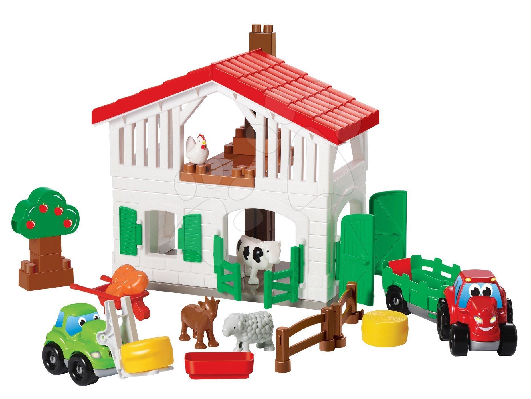 Stavebnica farma Abrick Écoiffier poschodová s traktorom a zvieratkami od 18 mes