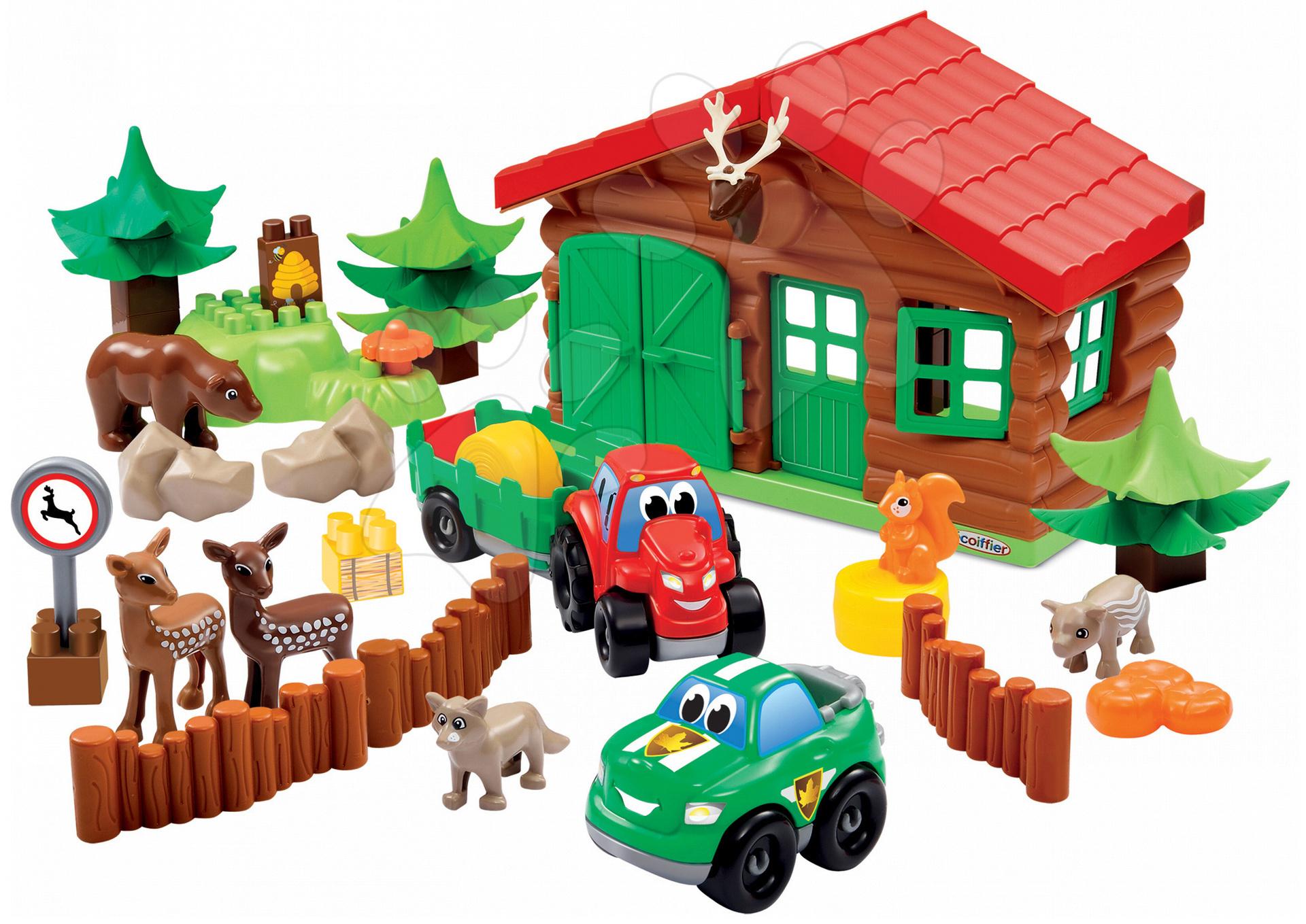 Stavebnice Abrick Hájovna Écoiffier 6 zvířátek a 2 autíčka od 18 měsíců
