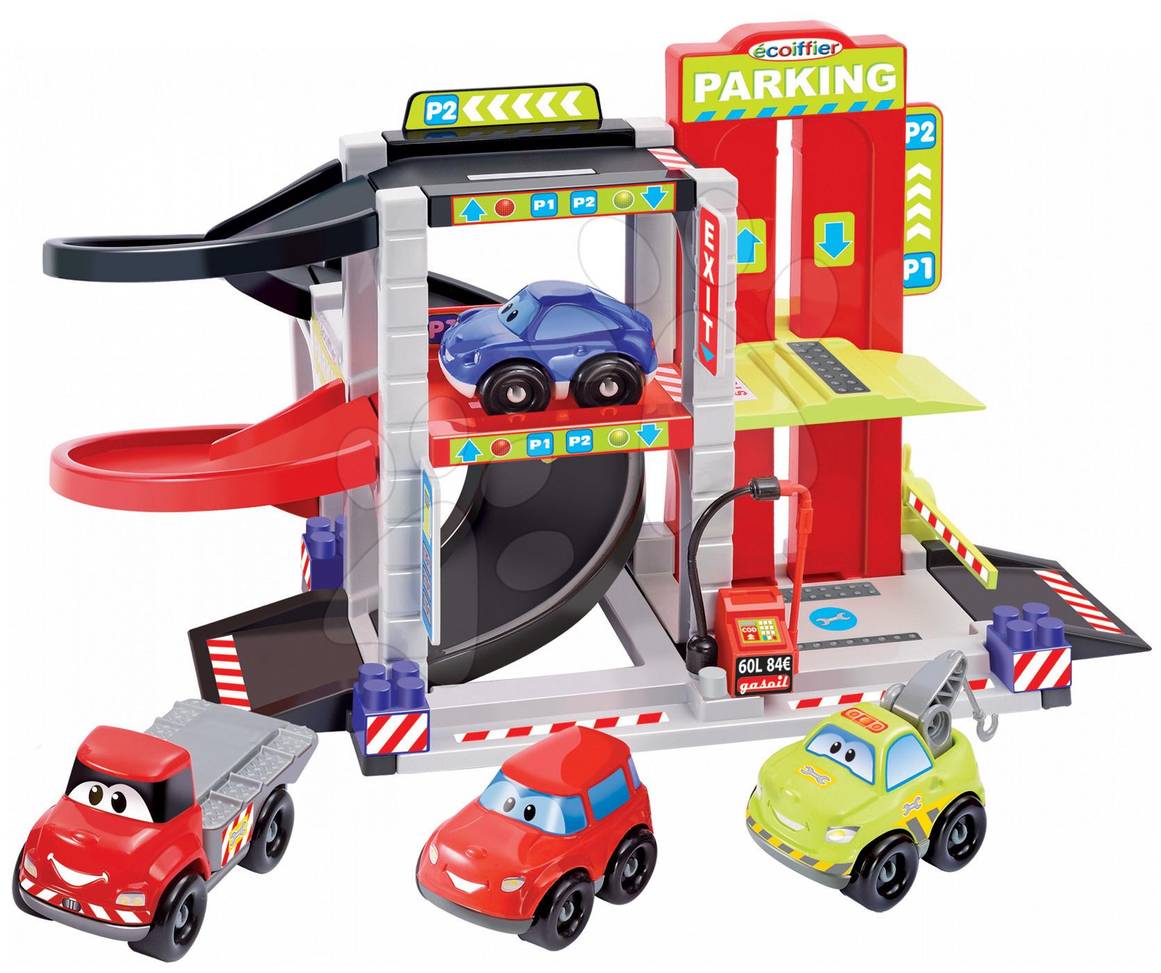 Stavebnica Rýchle autá Abrick Écoiffier Poschodová garáž so 4 autíčkami od 18 mes