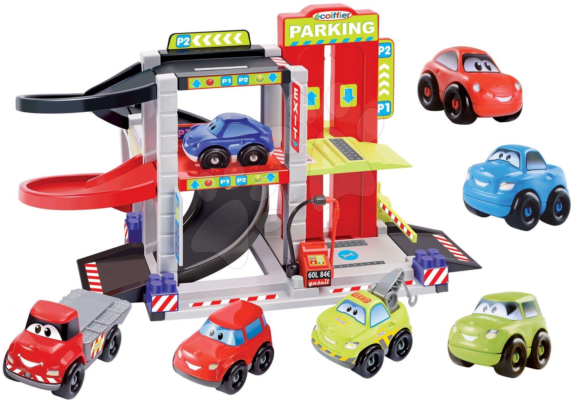 Stavebnica Rýchle autá Abrick Écoiffier poschodová garáž so 4 autíčkami + 3 autá DARČEK od 18 mes