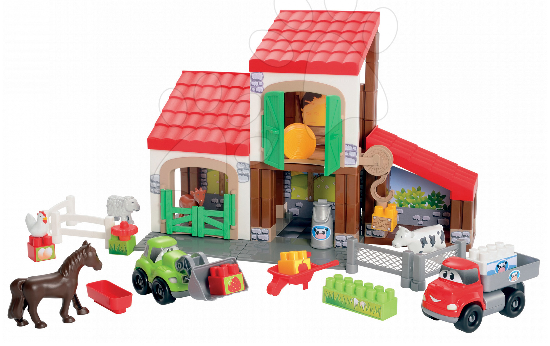 Stavebnica Rýchle autá - poschodová farma s 2 autíčkami Abrick Écoiffier od 18 mes