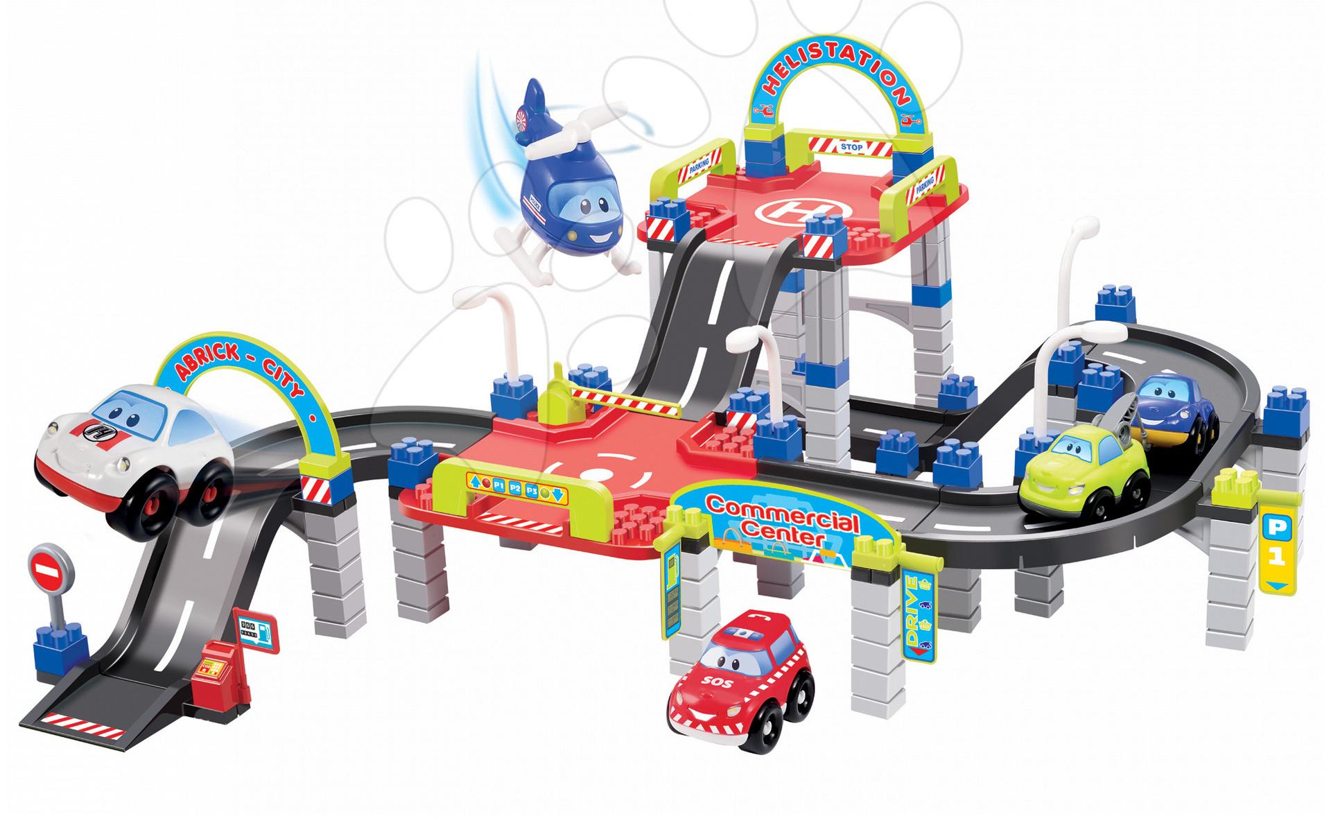 Stavebnica City 3 - poschodový parkovací dom Abrick Écoiffier s 5 autíčkami od 18 mes