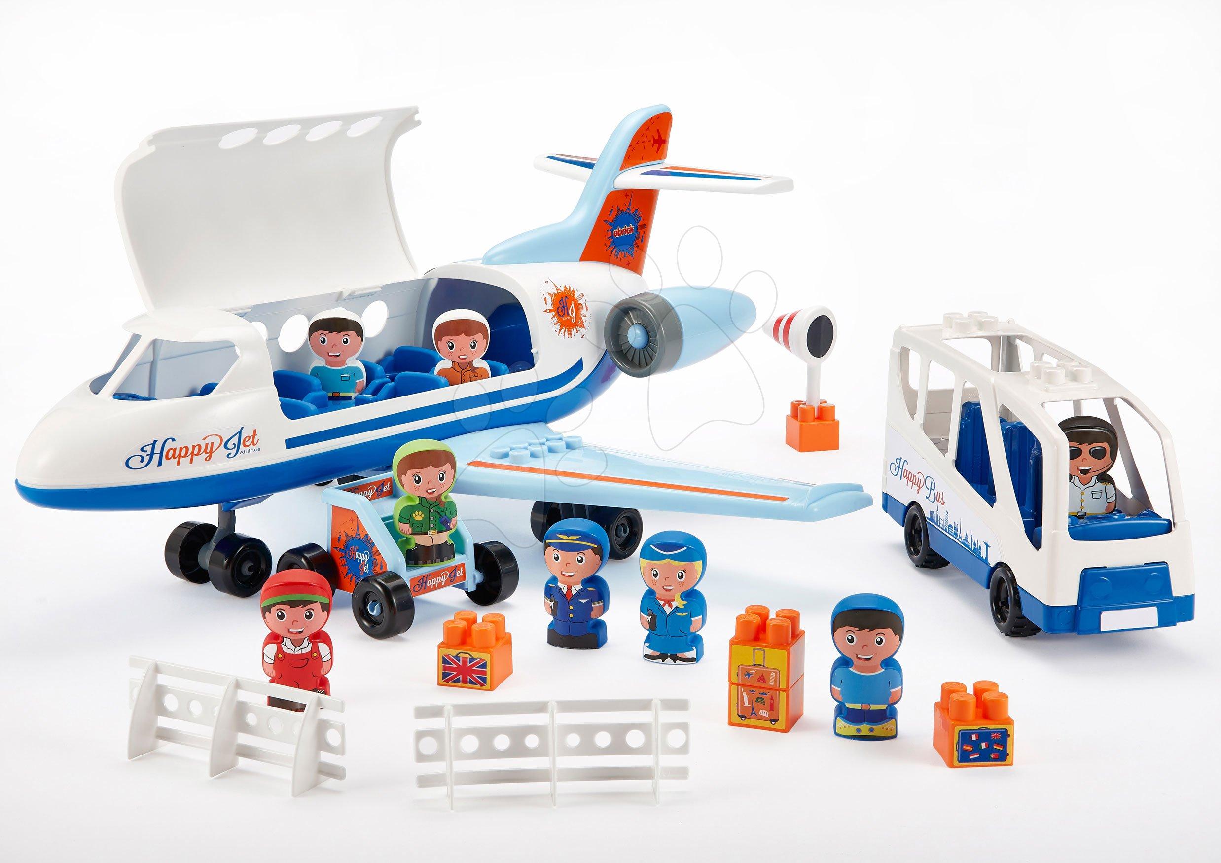 Abrick építőkockák - Építőjáték repülőgép és autóbusz Abrick Écoiffier feljáróval és 8 figurával 18 hó-tól