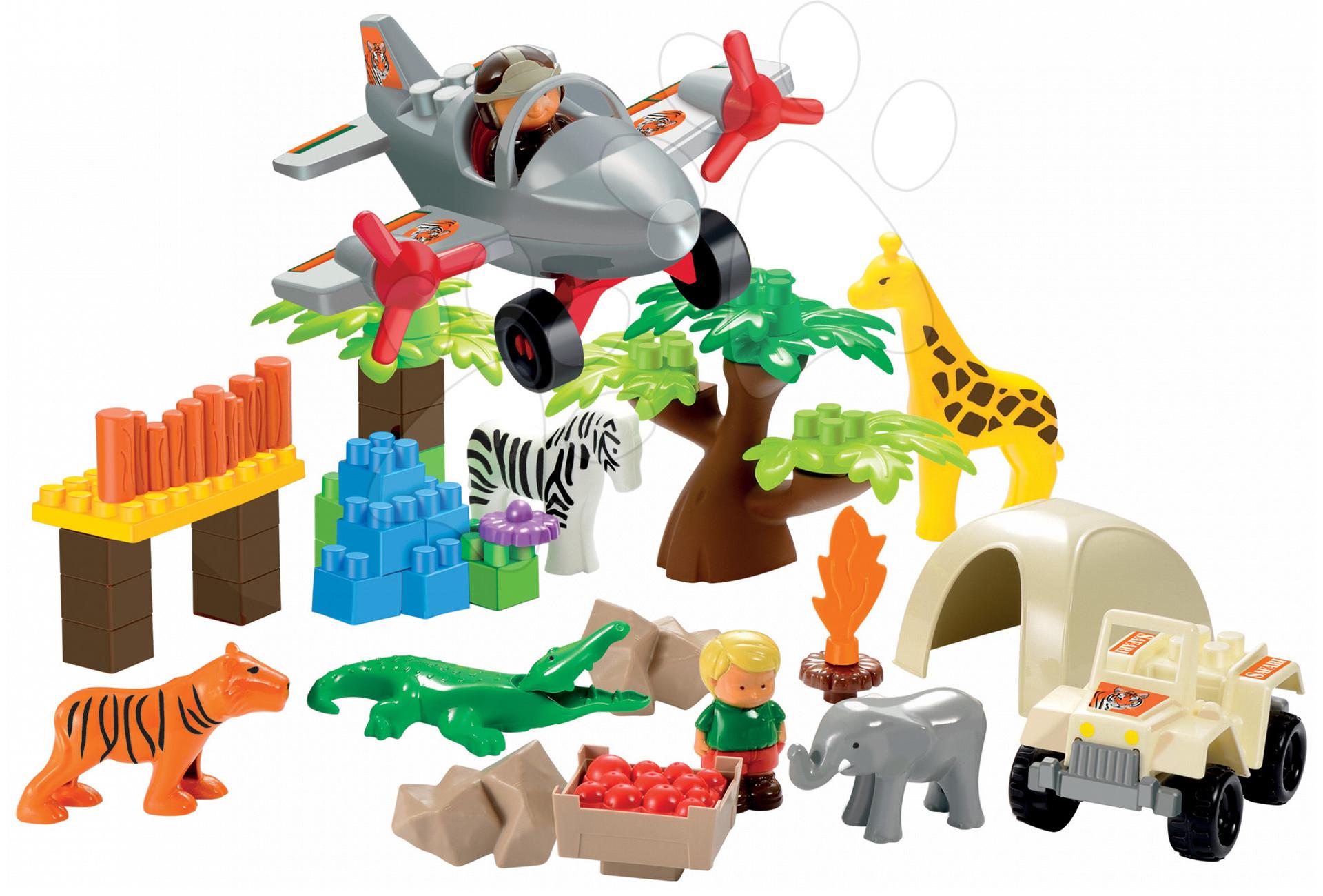 Stavebnice Safari s džunglí, letadlem a autem Abrick Écoiffier 2 figurkami 59 dílů od 18 měsíců