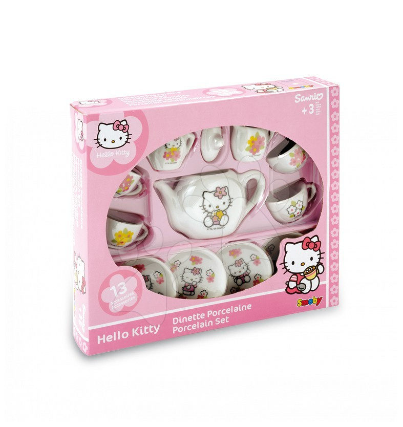 Dětská čajová souprava Hello Kitty Smoby porcelánová s 13 doplňky